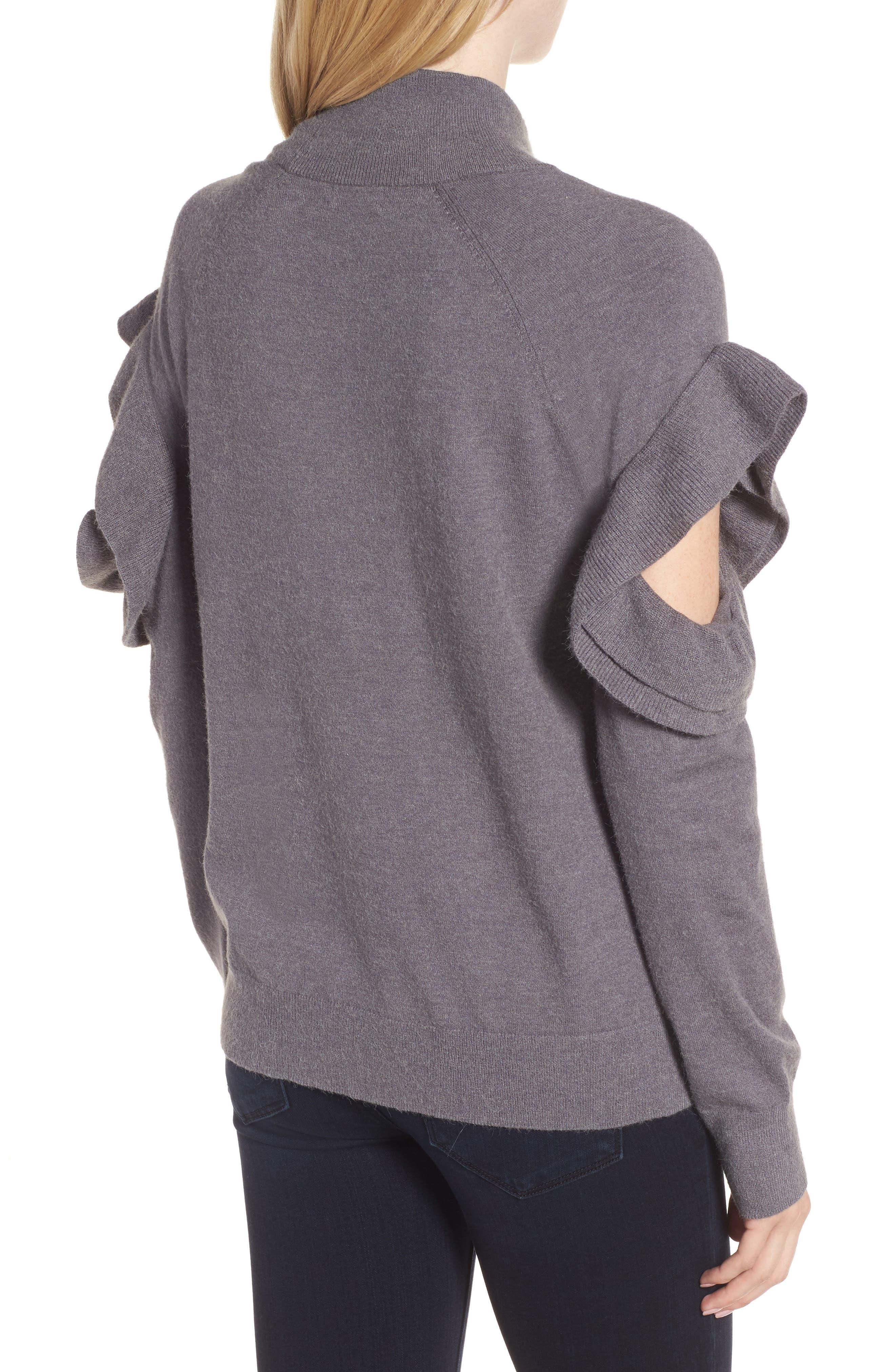 Ruffle Sleeve Sweater,                             Alternate thumbnail 4, color,