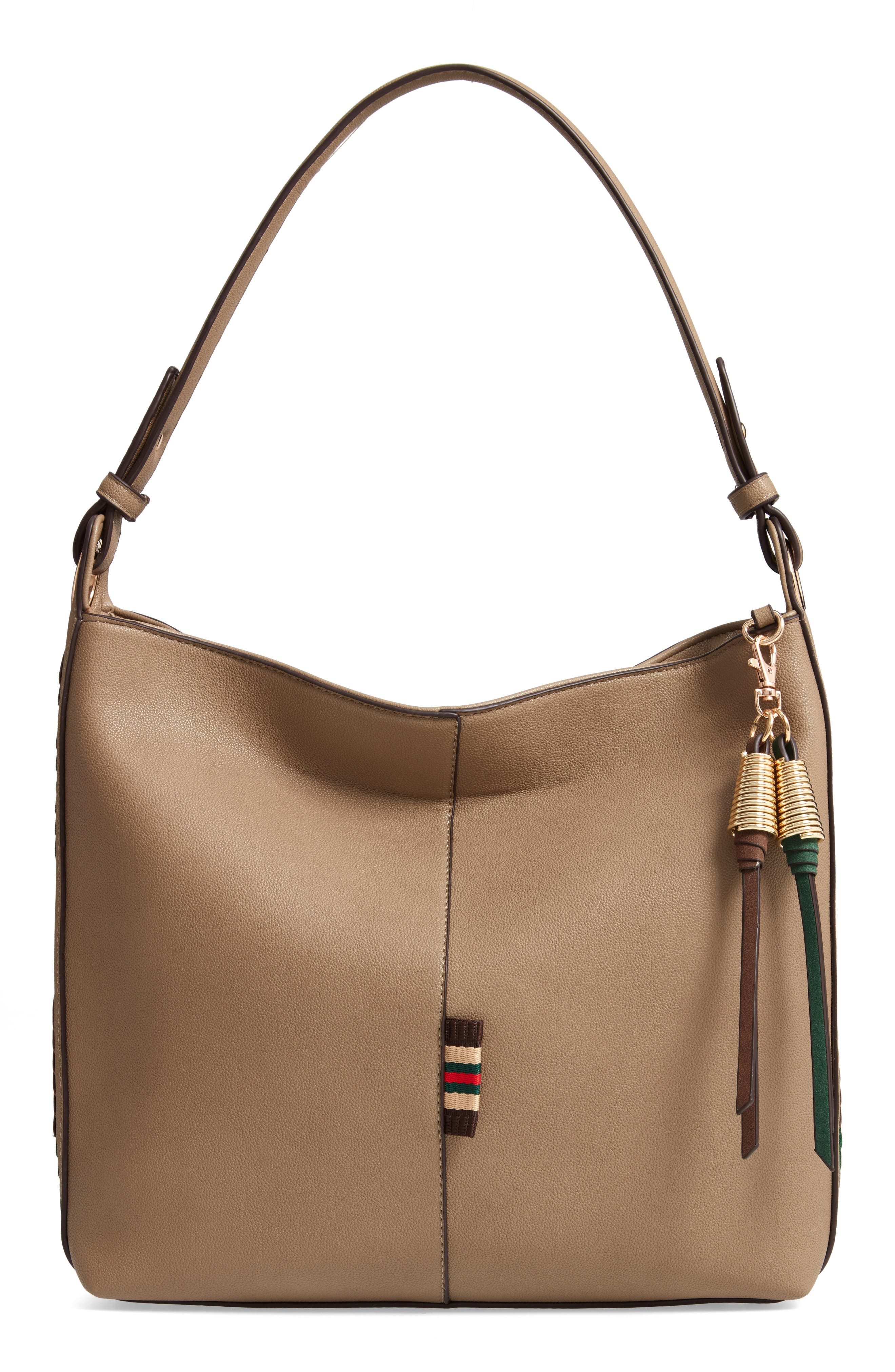 Faux Leather Hobo,                             Main thumbnail 1, color,                             TAUPE