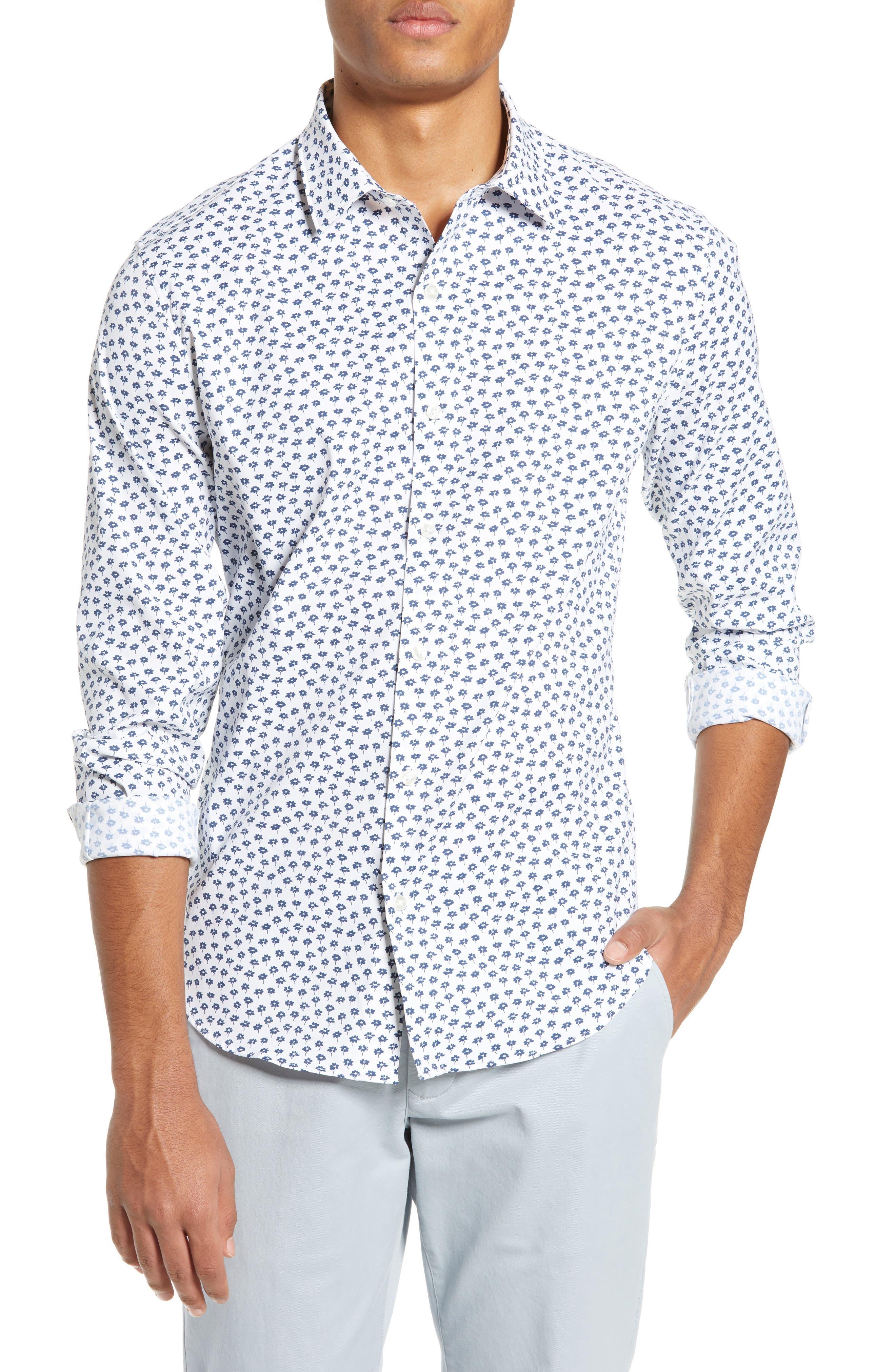 Slim Fit Floral Tech Sport Shirt, Main, color, FLORAL STAMP - PEACOCK