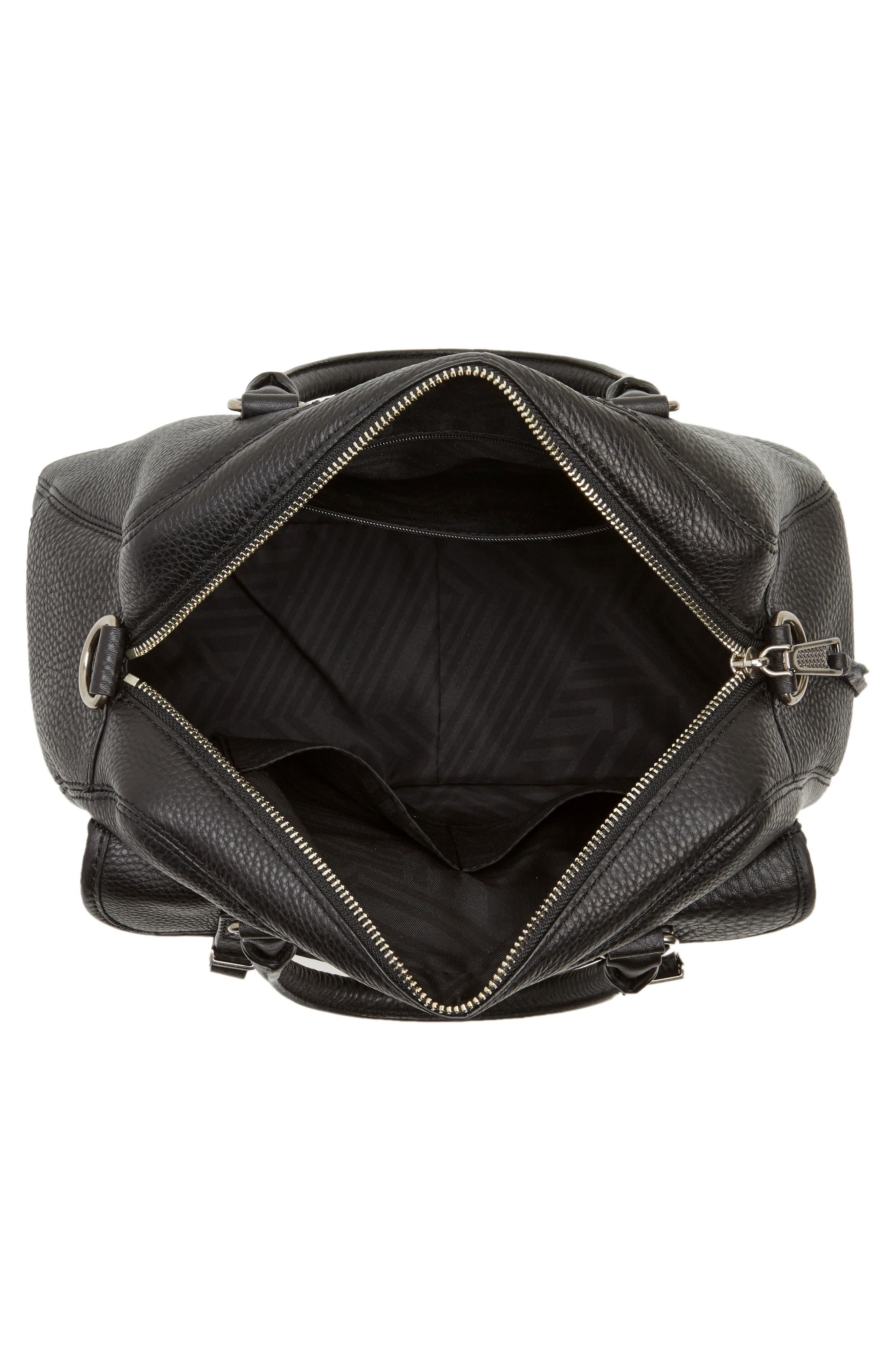 Military Pocket Leather Satchel,                             Alternate thumbnail 4, color,                             001