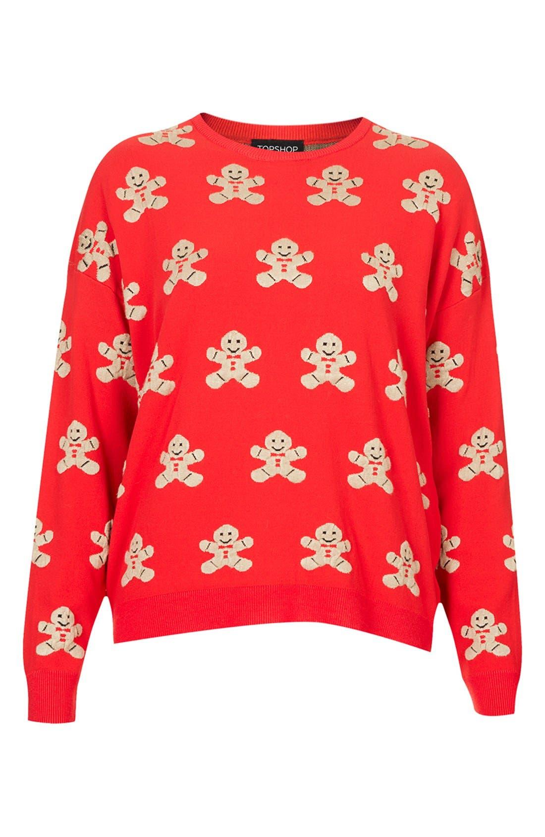 TOPSHOP,                             Gingerbread Man Sweater,                             Alternate thumbnail 3, color,                             600