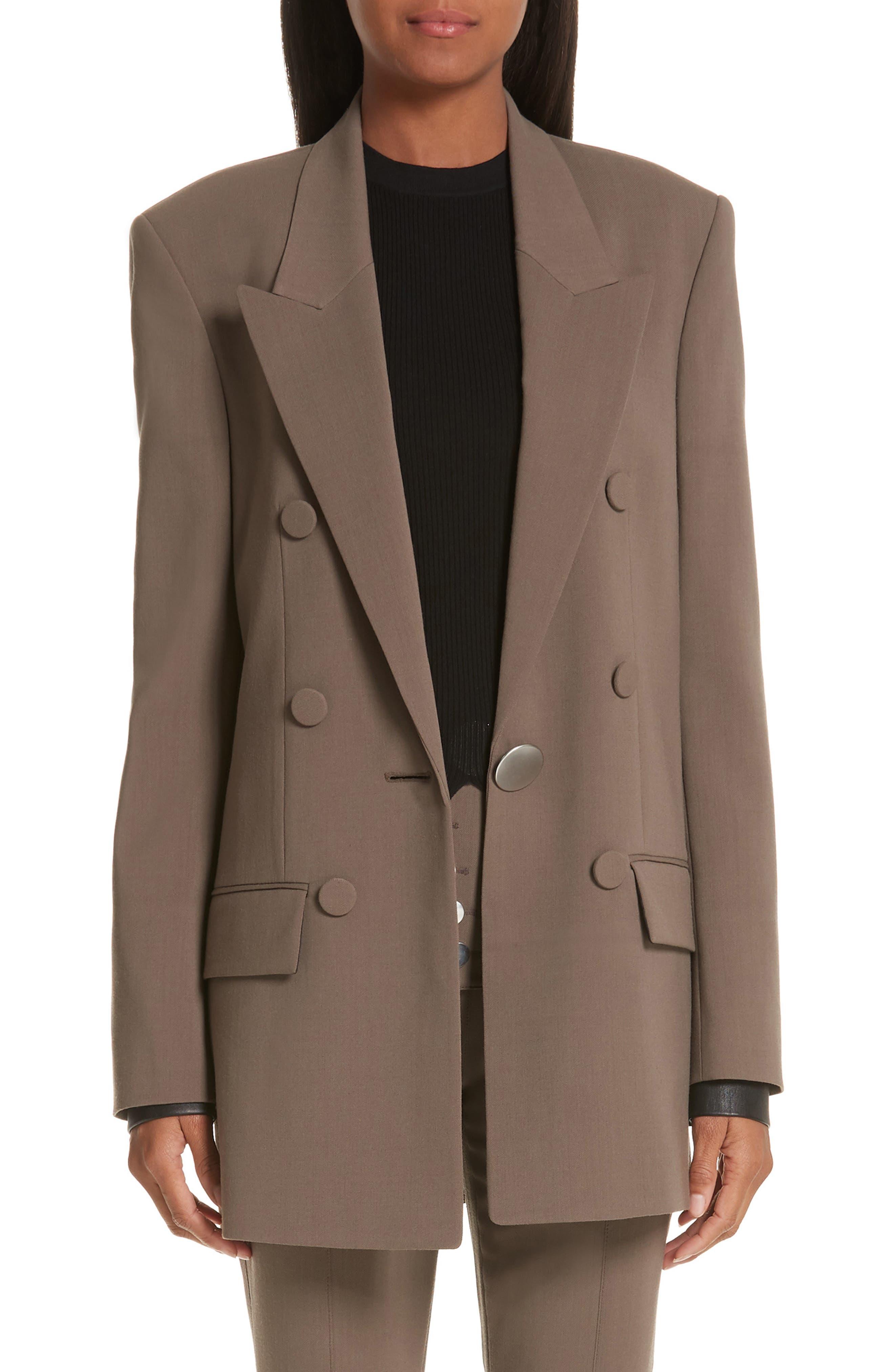 ALEXANDER WANG Leather Cuff Blazer, Main, color, KHAKI GREEN