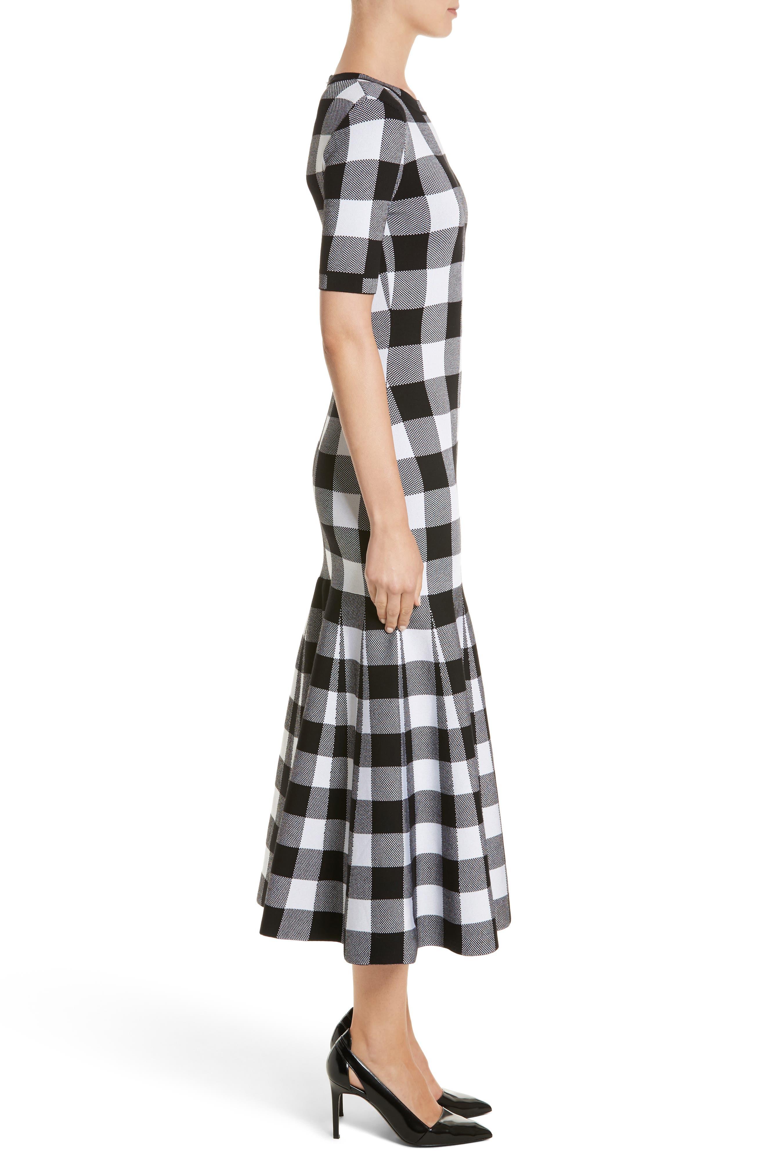Buffalo Check Knit Flare Hem Dress,                             Alternate thumbnail 3, color,                             001