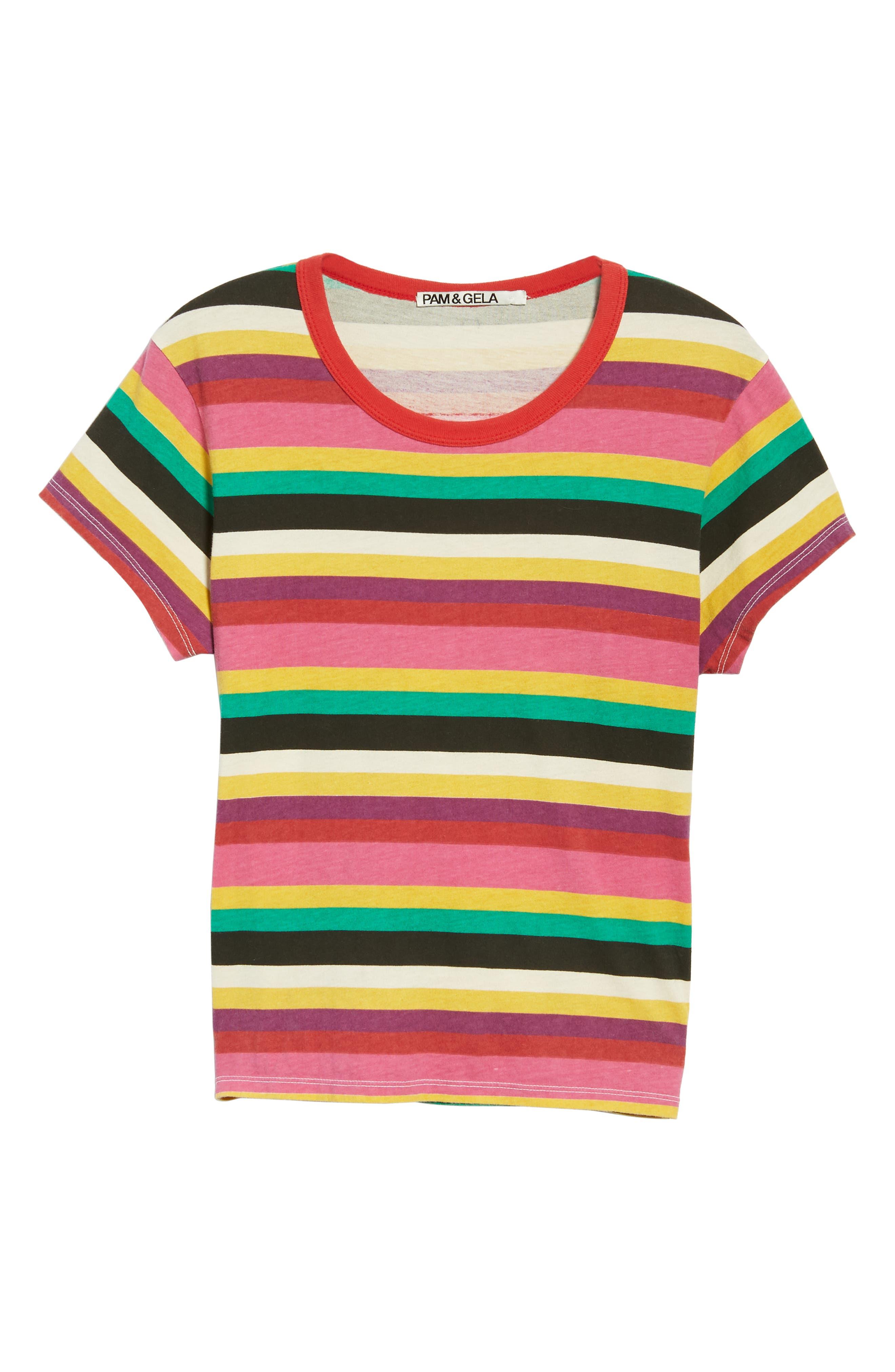 Rainbow Stripe Tee,                             Alternate thumbnail 6, color,                             MULTICOLOR