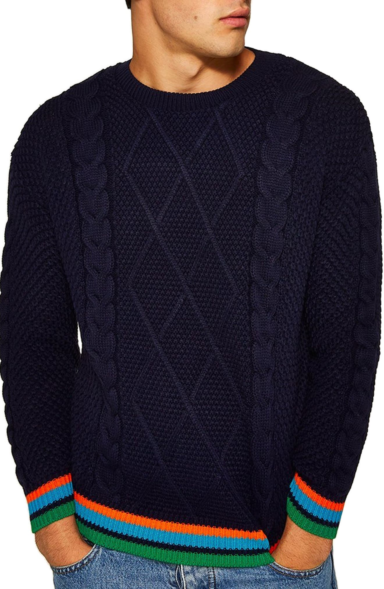 Topman Classic Fit Cable Knit Sweater, Blue
