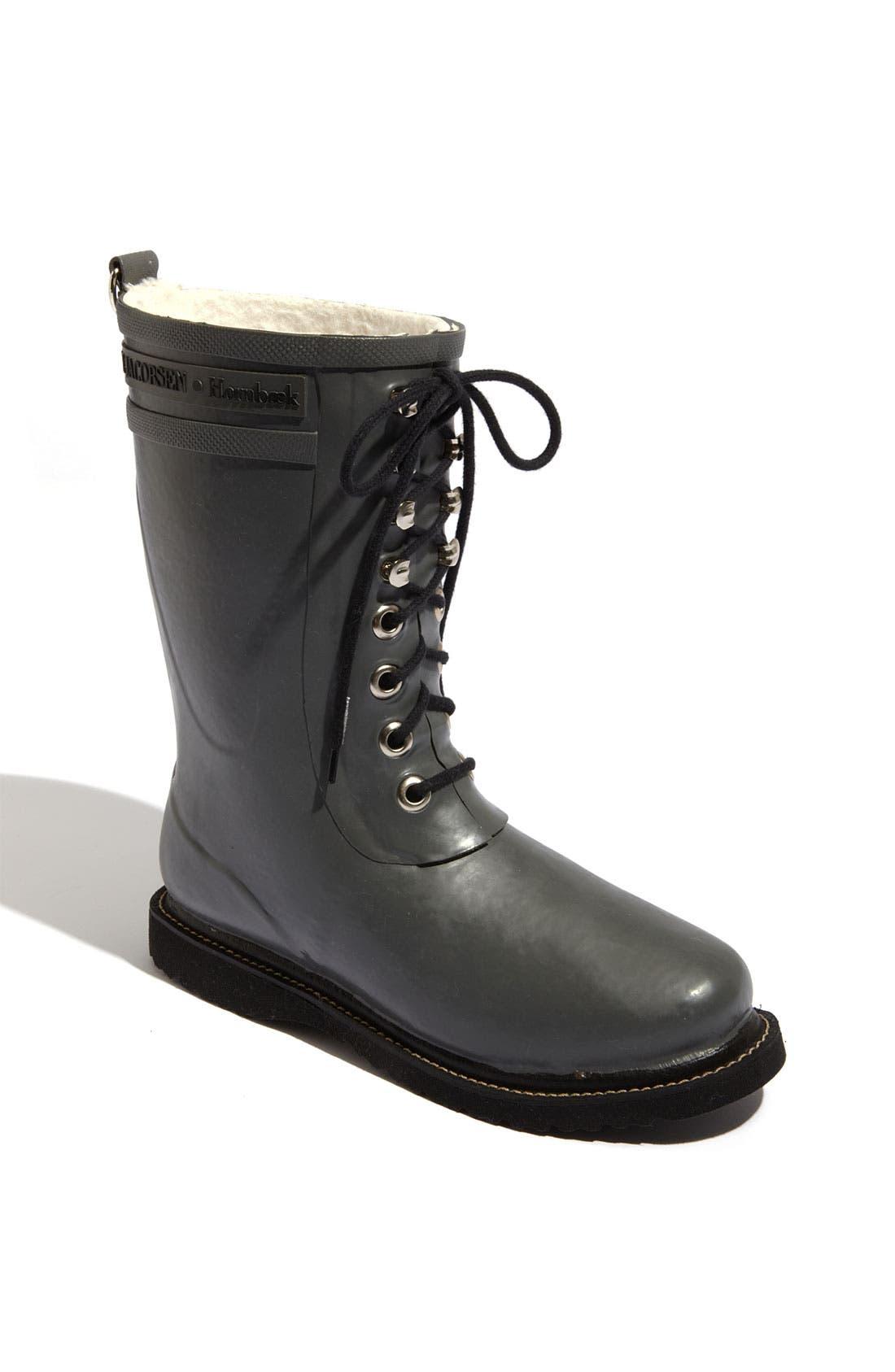 Rubber Waterproof Boot,                             Main thumbnail 1, color,                             GREY