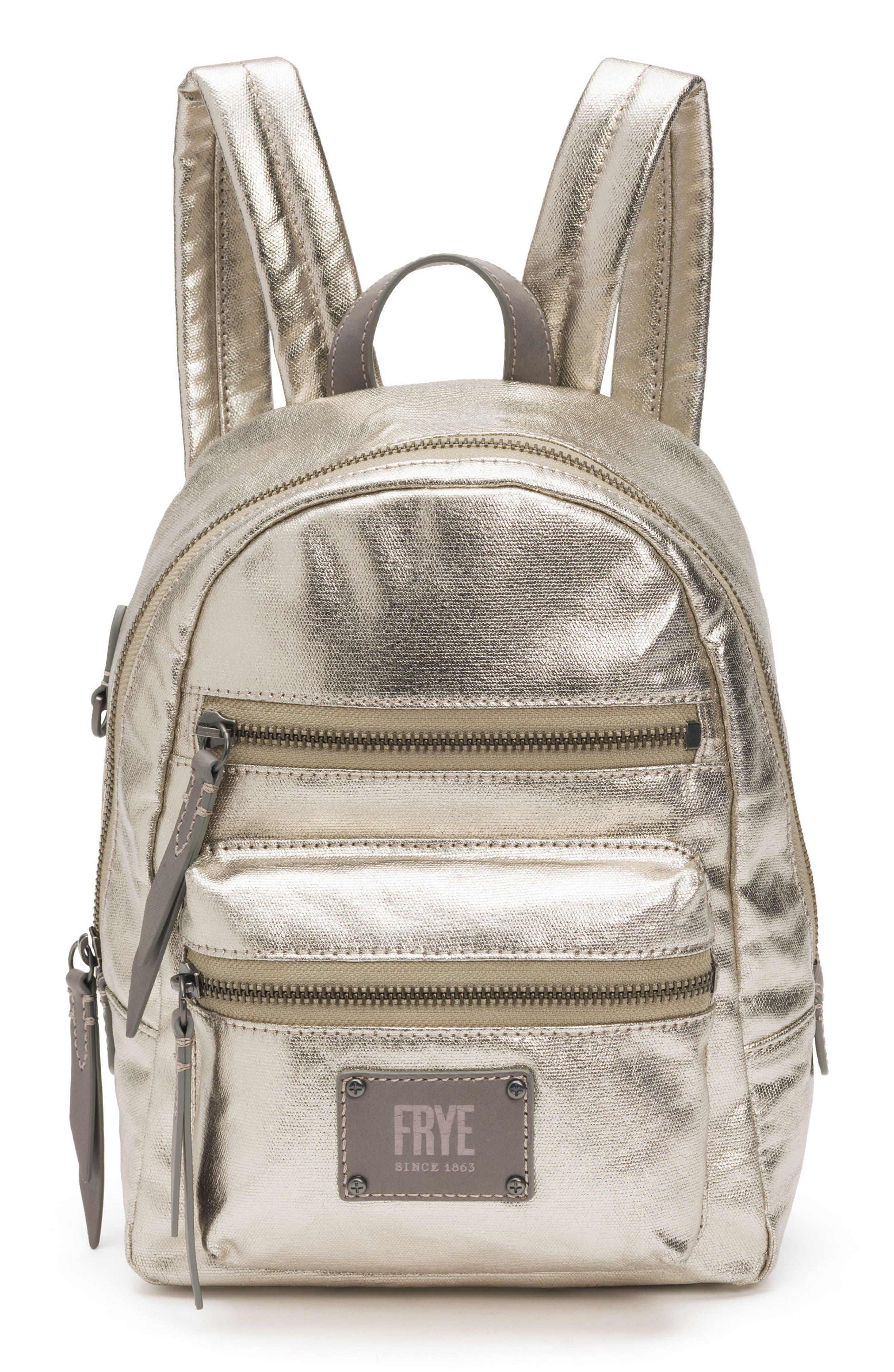 Mini Ivy Metallic Nylon Backpack,                         Main,                         color, PEWTER