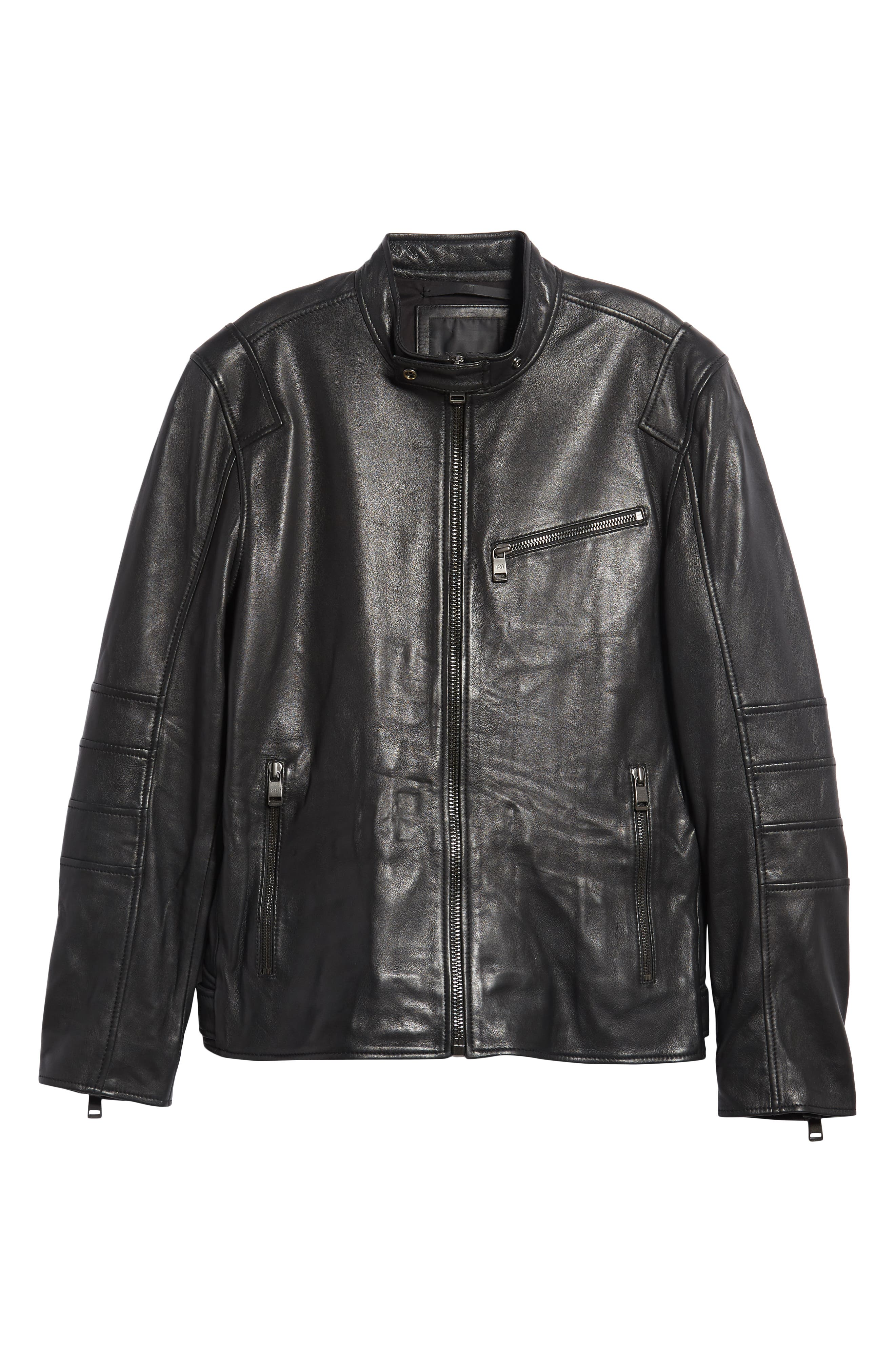 ANDREW MARC,                             Quilted Leather Moto Jacket,                             Alternate thumbnail 5, color,                             BLACK