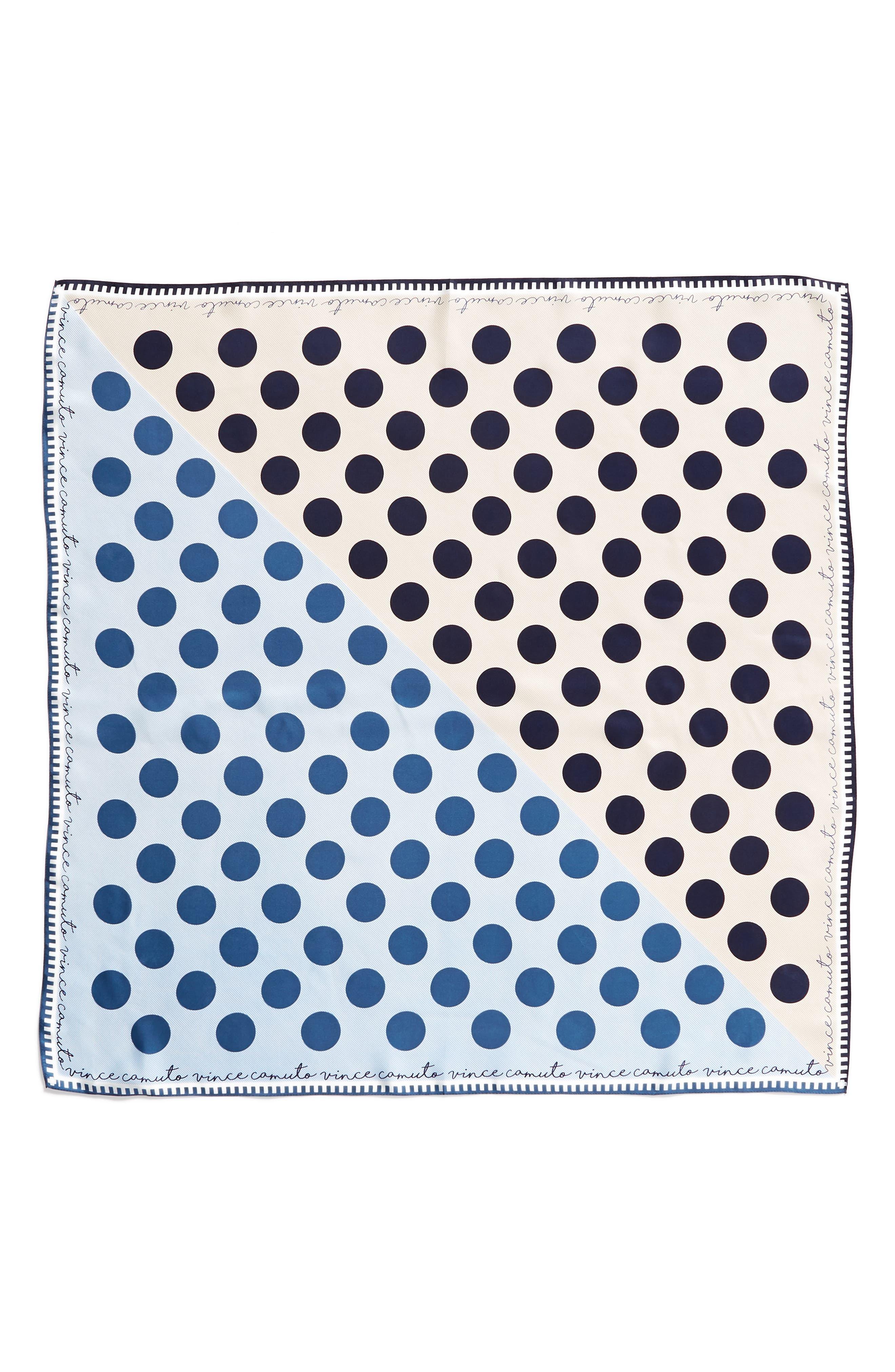 Polka Stripe Square Silk Scarf,                             Alternate thumbnail 9, color,