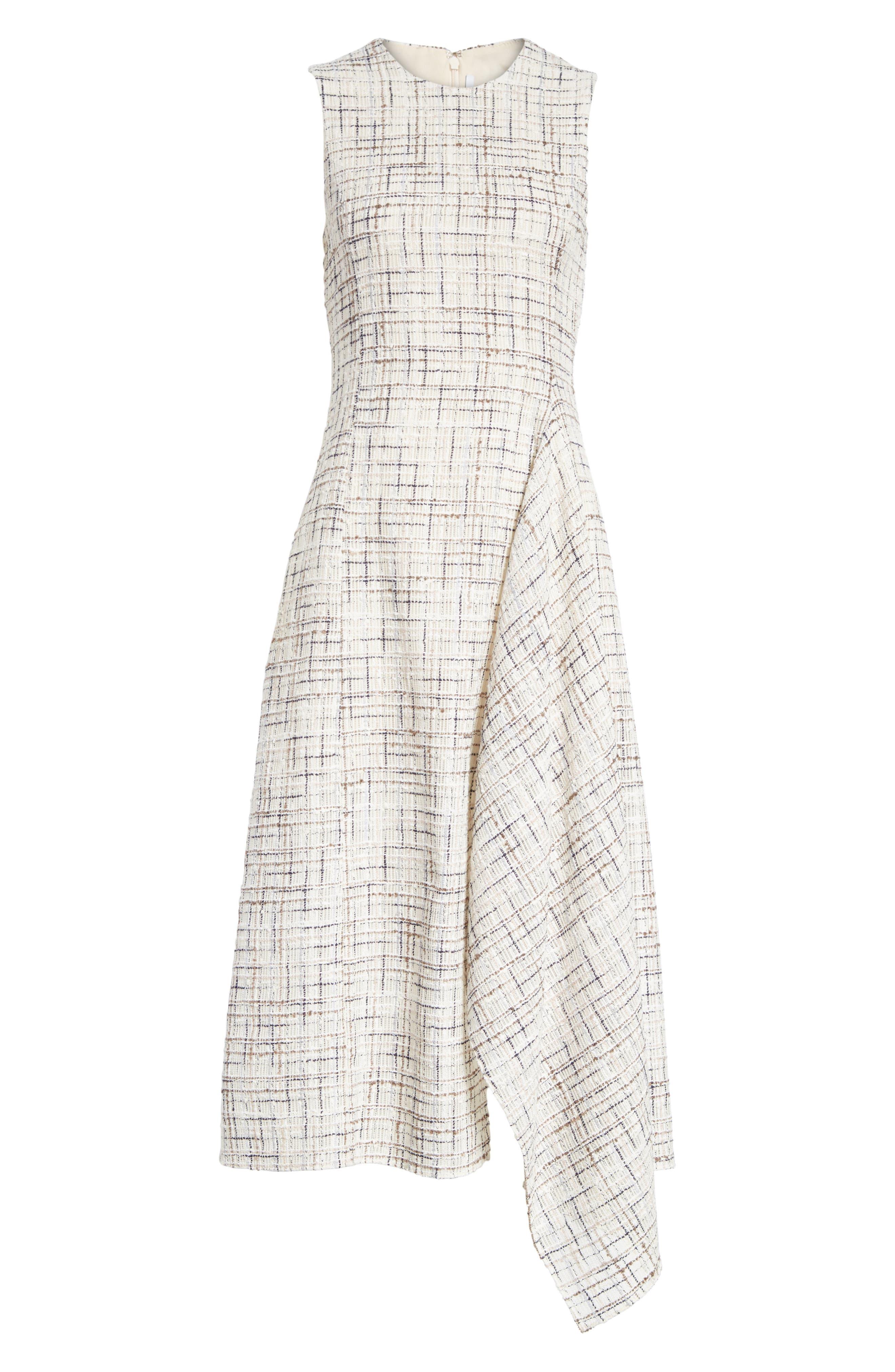 Draped Tweed Dress,                             Alternate thumbnail 6, color,