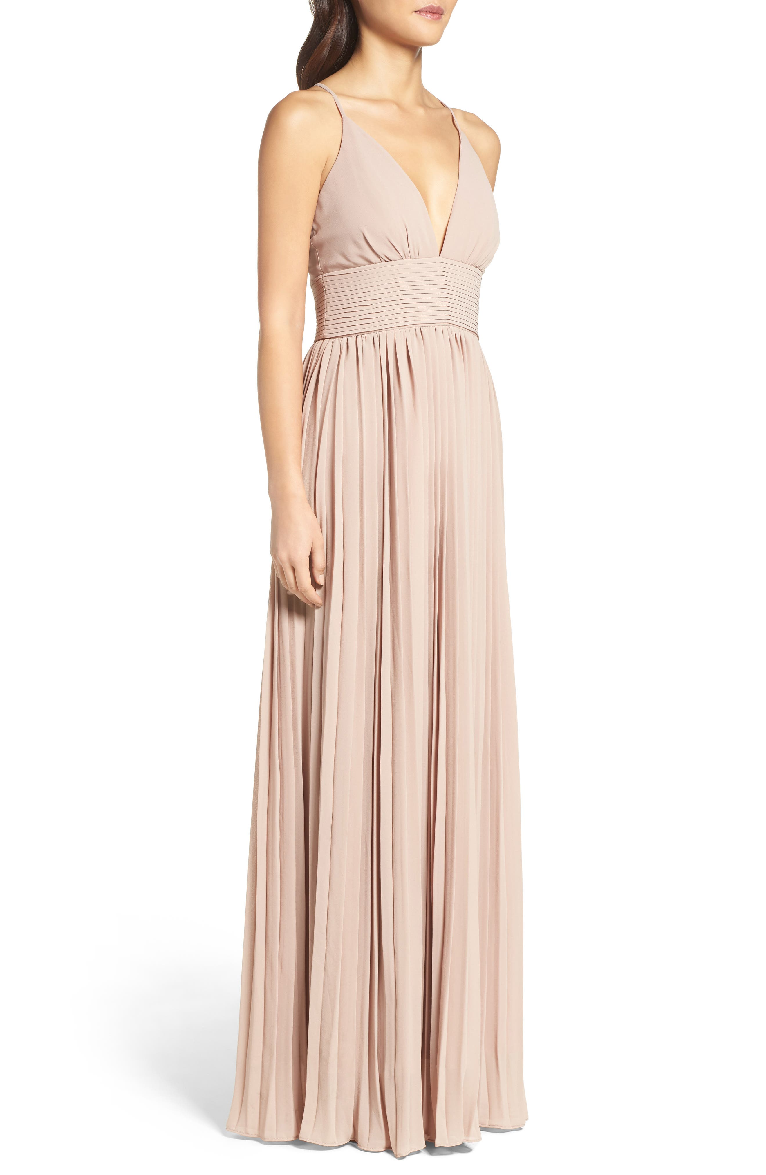 Plunging V-Neck Pleat Georgette Gown,                             Alternate thumbnail 21, color,