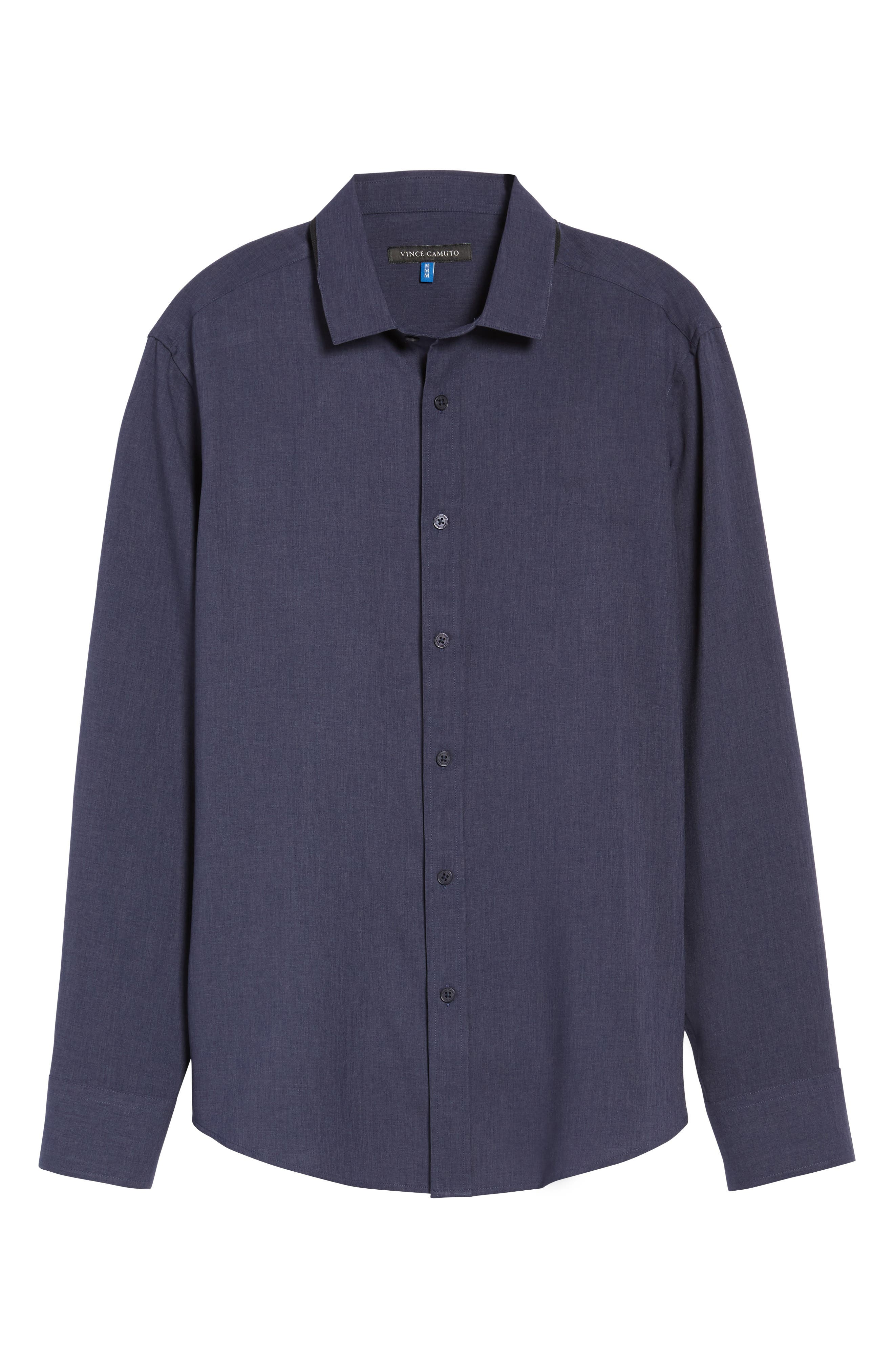 Trim Fit Performance Knit Sport Shirt,                             Alternate thumbnail 6, color,                             NAVY