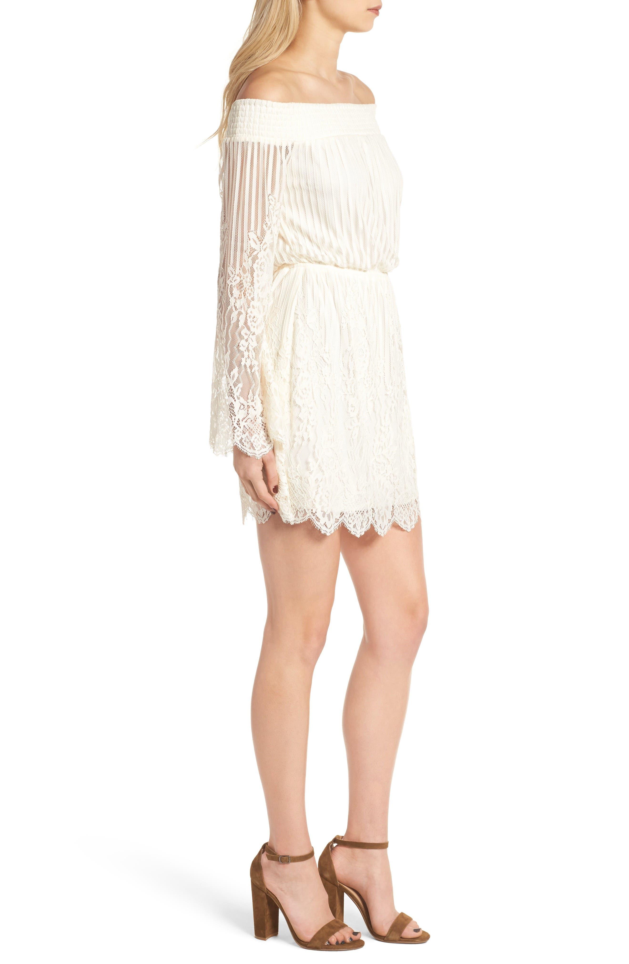 Stripe Lace Off the Shoulder Dress,                             Alternate thumbnail 3, color,