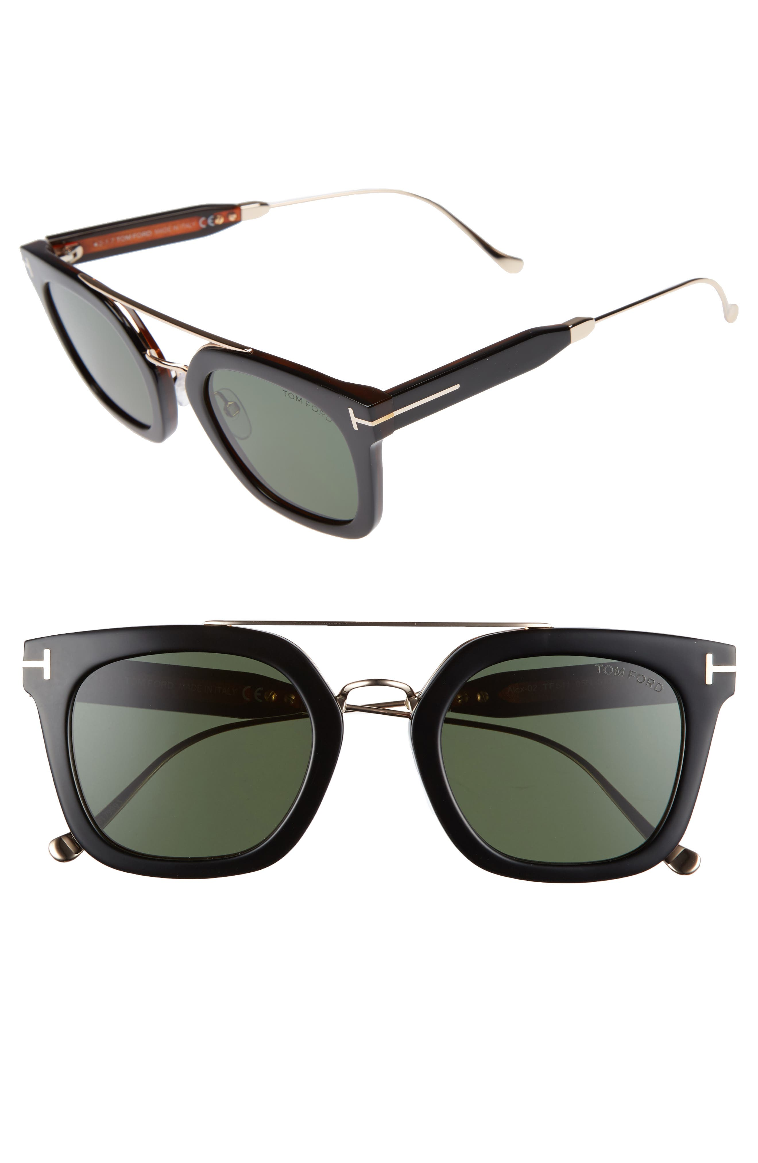 Alex 51mm Sunglasses,                             Main thumbnail 1, color,                             BLACK/ OTHER / GREEN