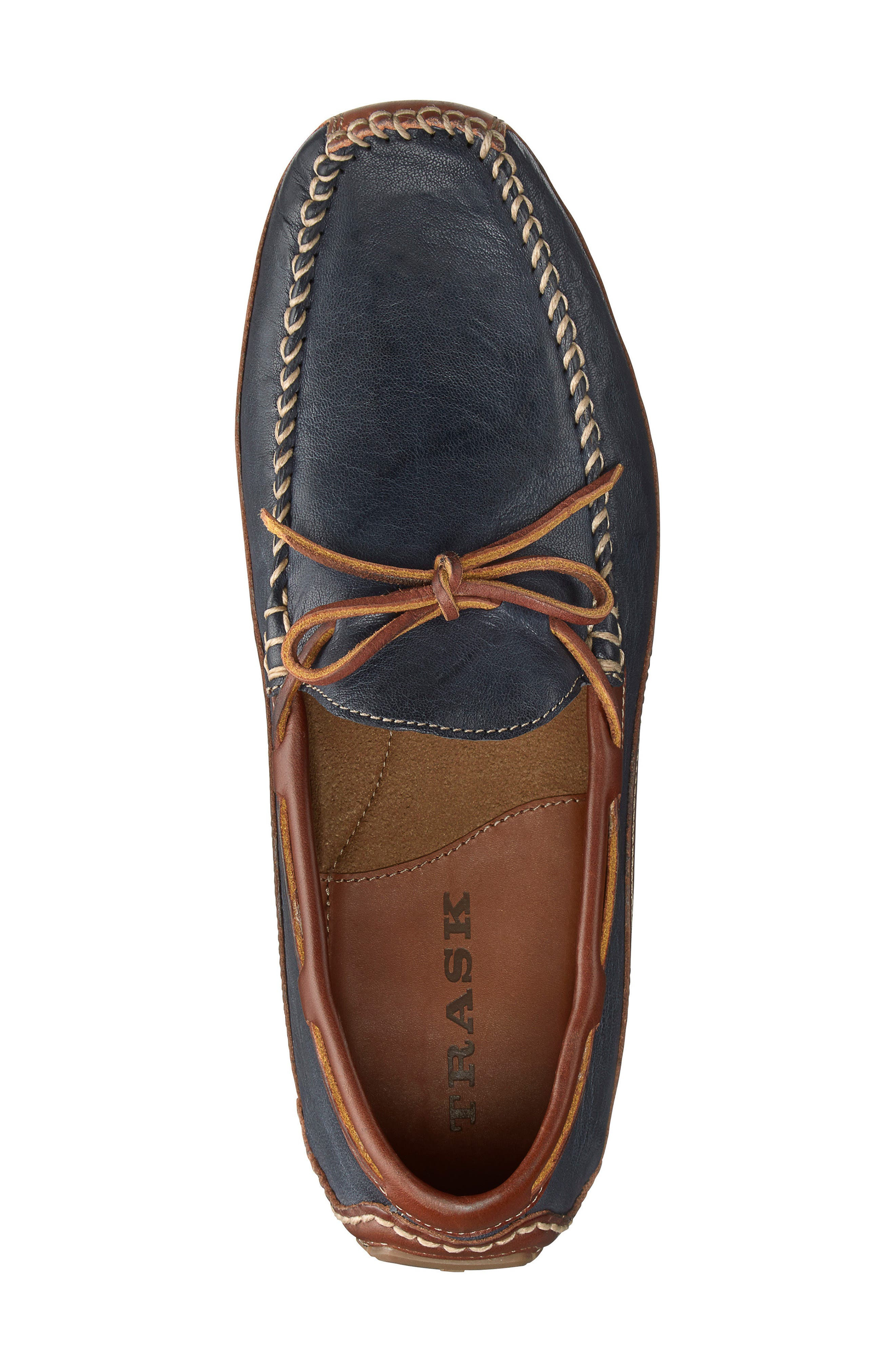 'Drake' Leather Driving Shoe,                             Alternate thumbnail 3, color,                             DARK NAVY LEATHER