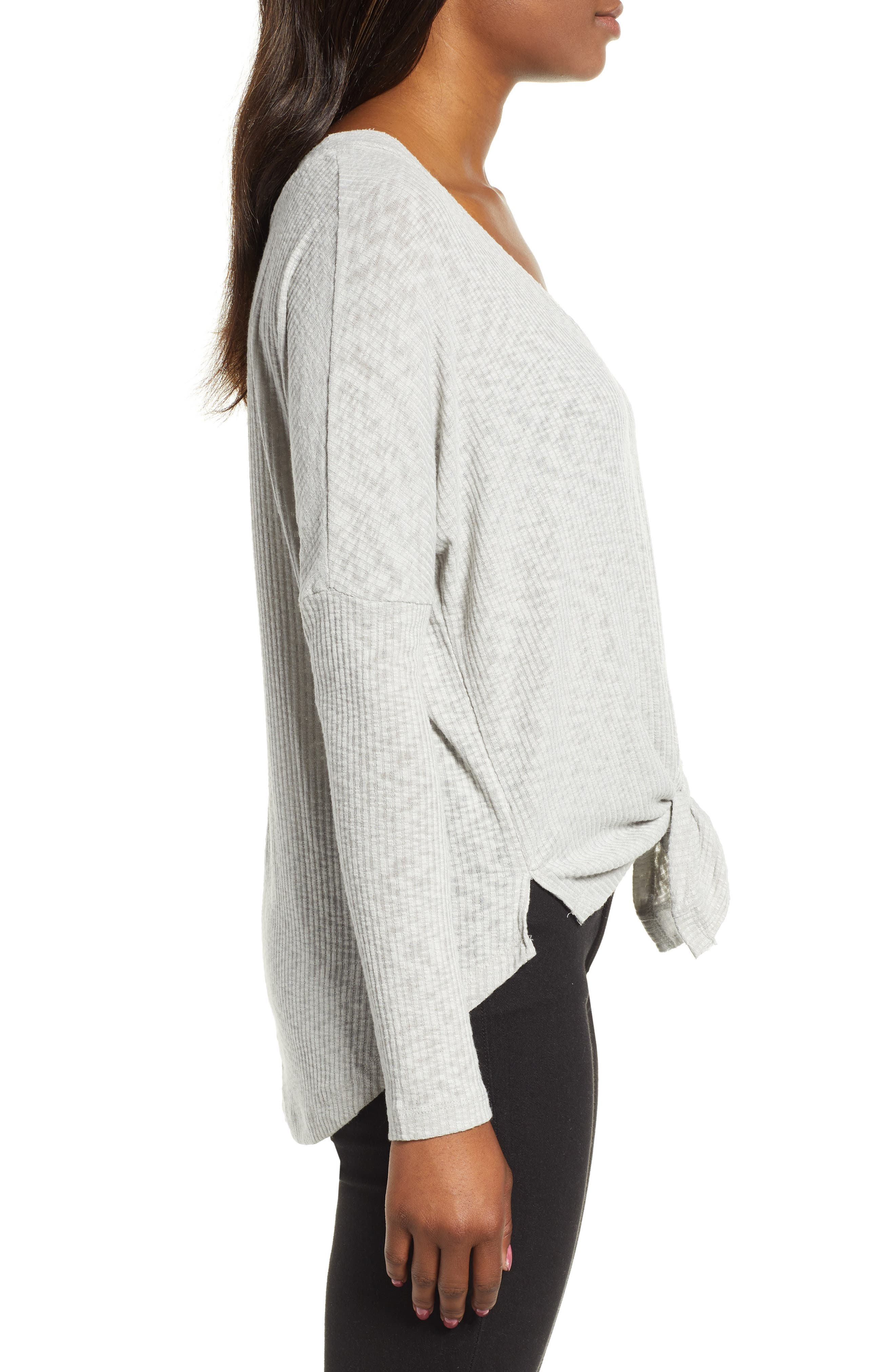 Button Front Ribbed Knit Top,                             Alternate thumbnail 3, color,                             GREY HEATHER