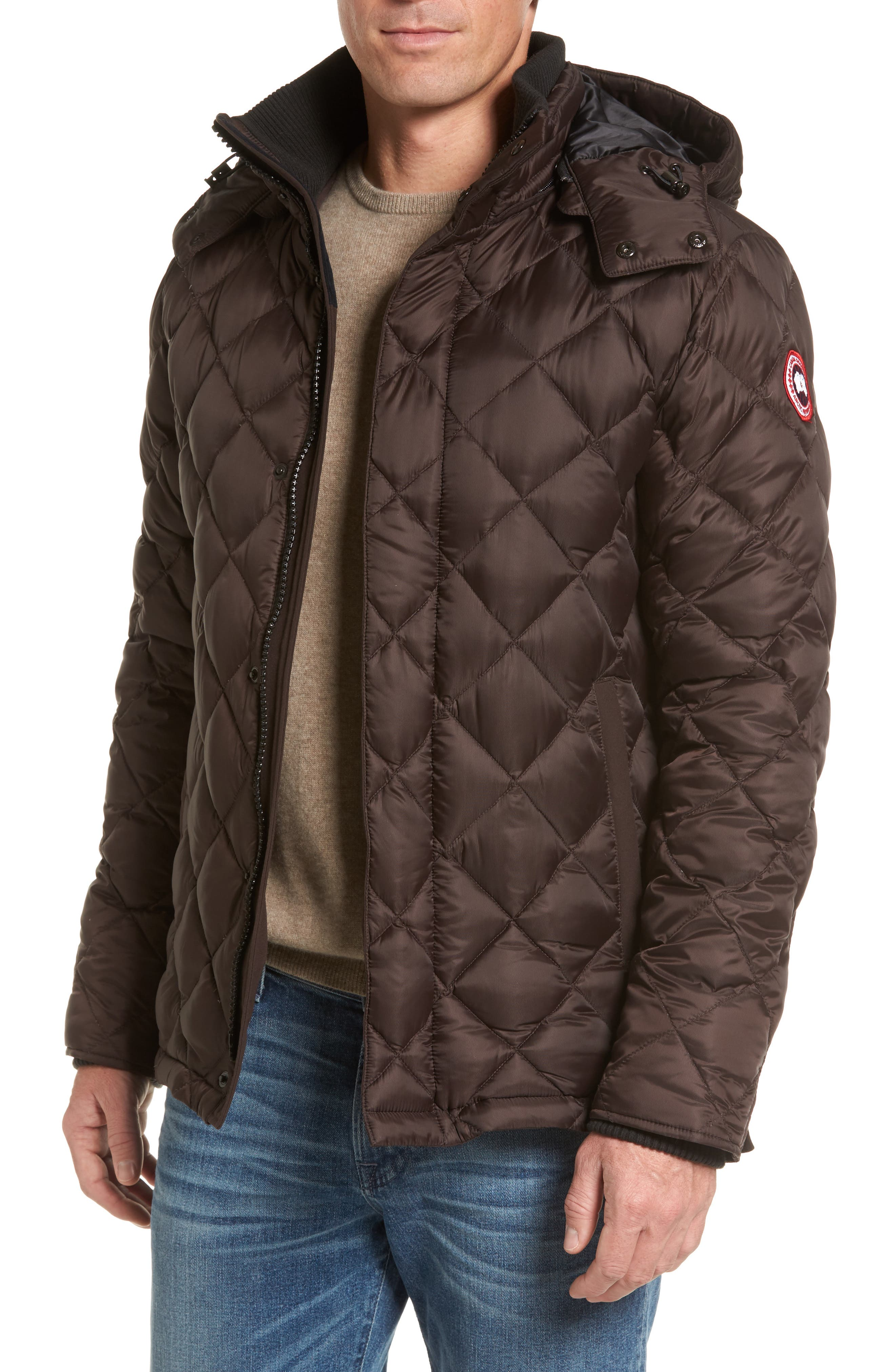 Hendriksen Quilted Down Coat,                             Main thumbnail 1, color,                             CHARRED WOOD