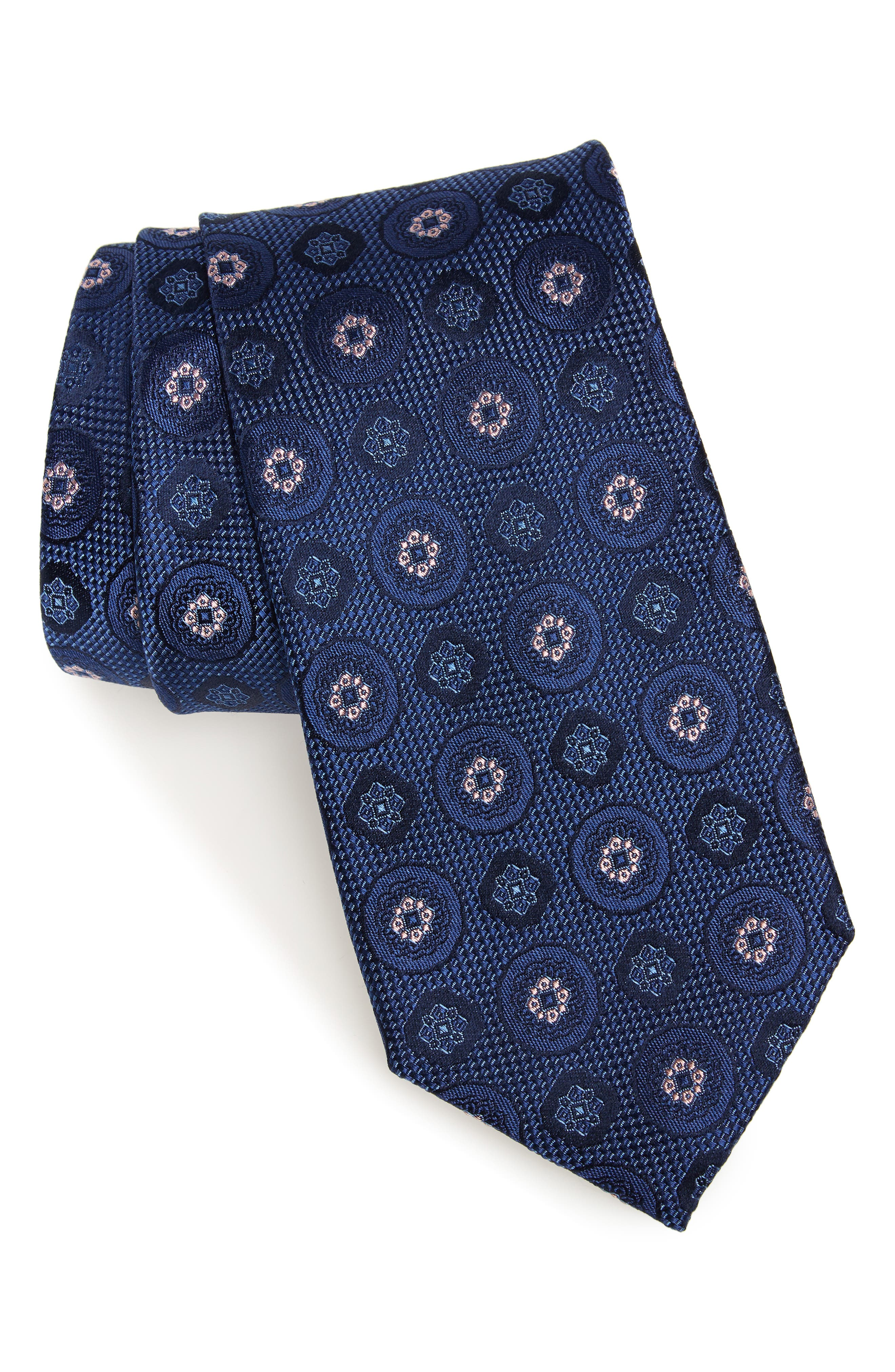 Edlin Medallion Silk Tie,                             Main thumbnail 1, color,                             NAVY