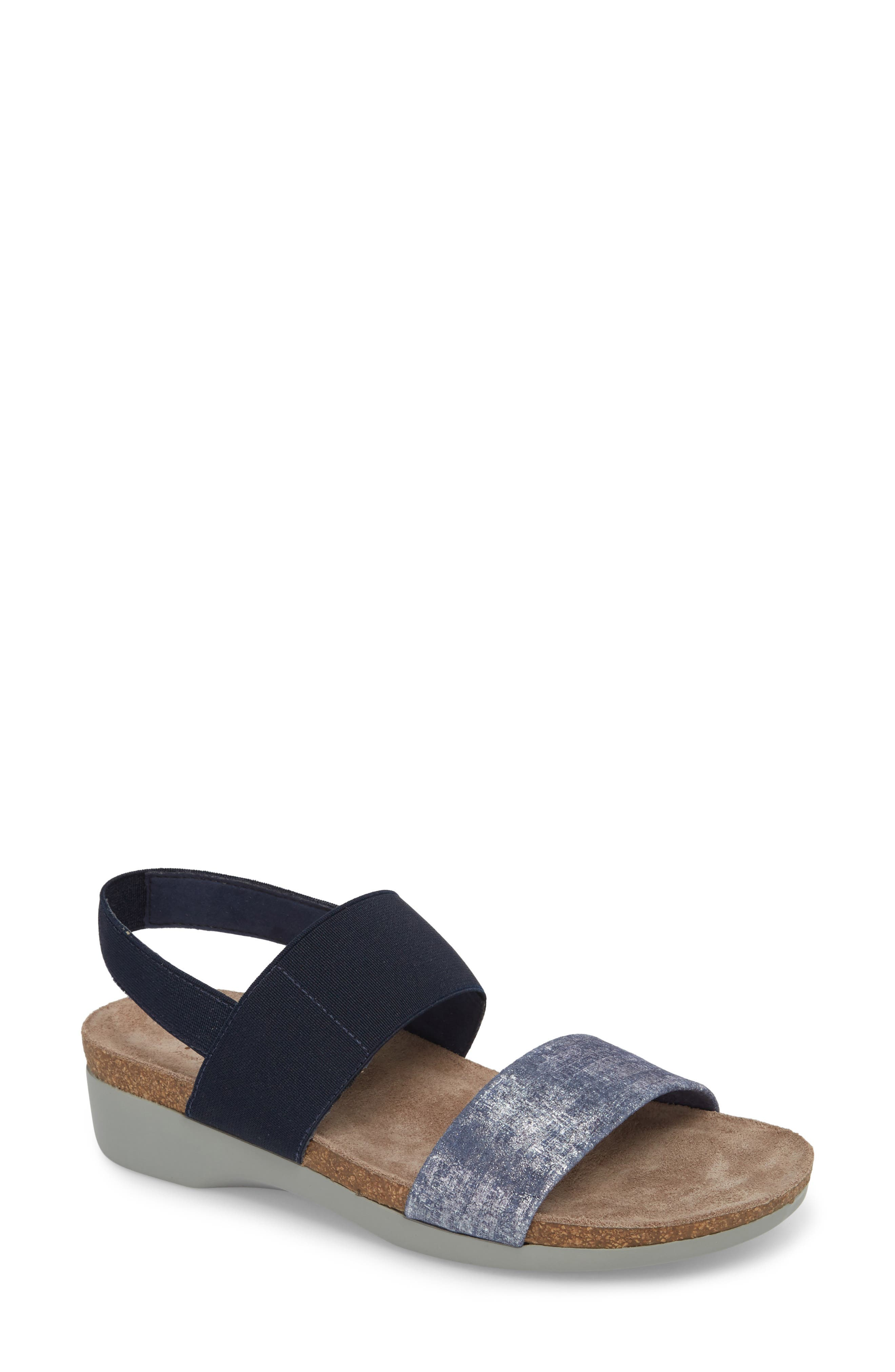 'Pisces' Sandal,                             Main thumbnail 1, color,                             BLUE/ SILVER METALLIC