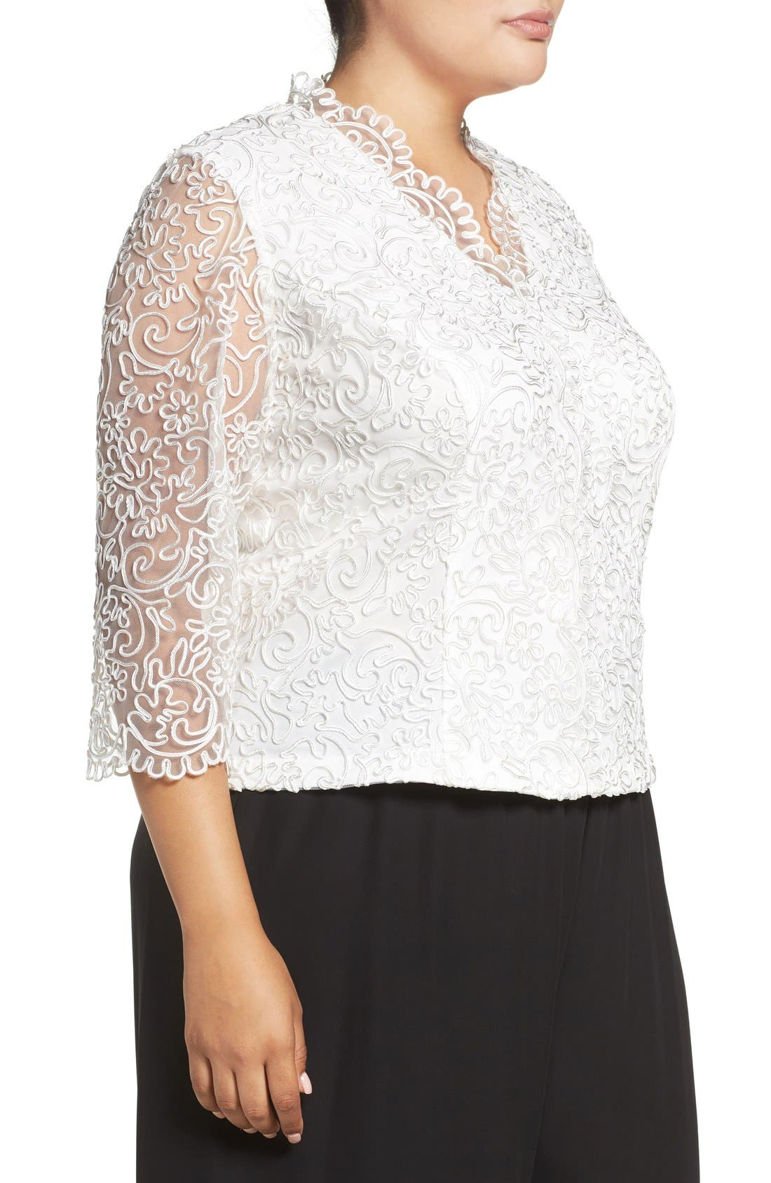 Embroidered Illusion Sleeve Blouse,                             Alternate thumbnail 11, color,
