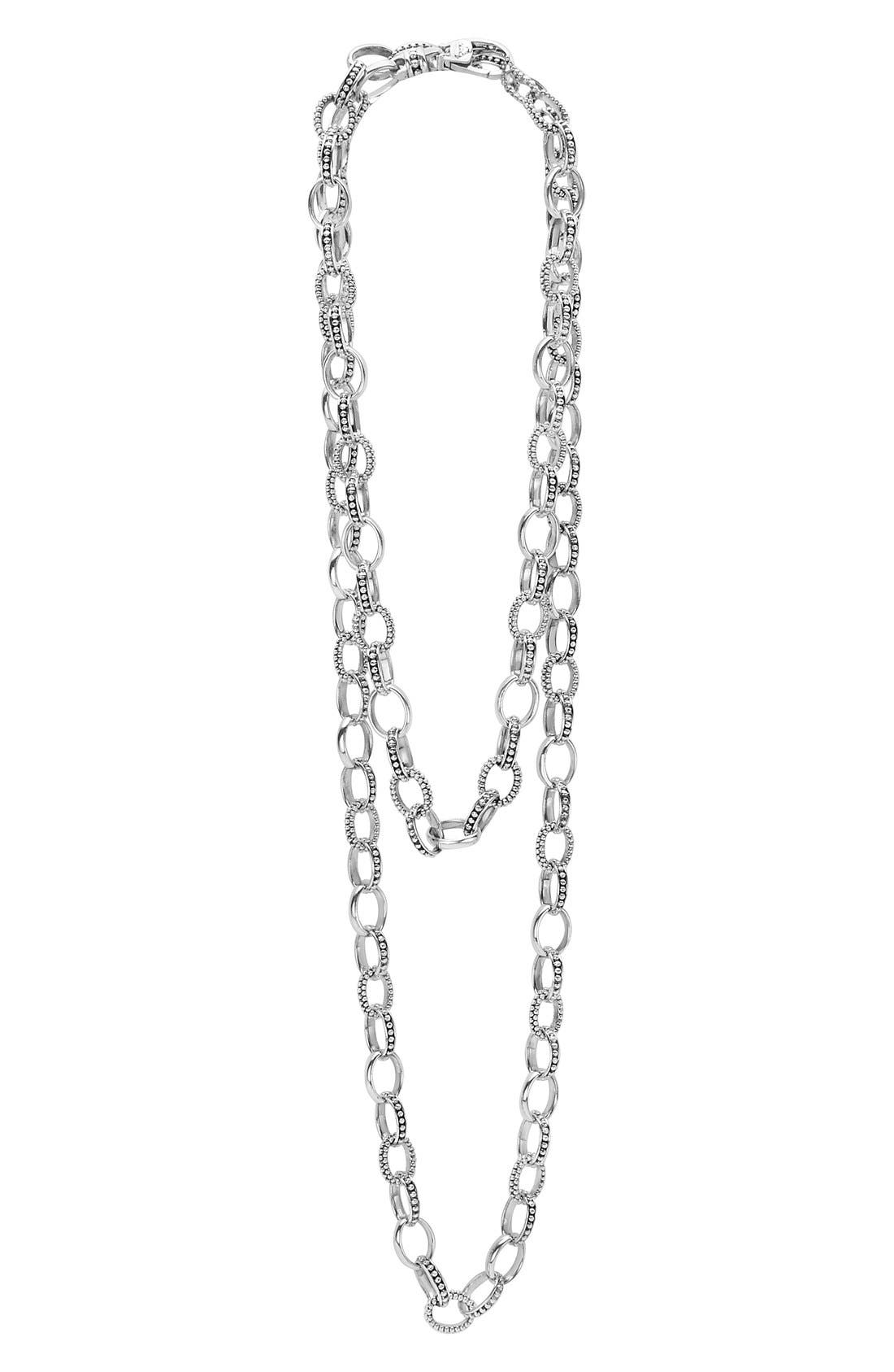 'Link' Caviar Chain Necklace,                         Main,                         color, SILVER