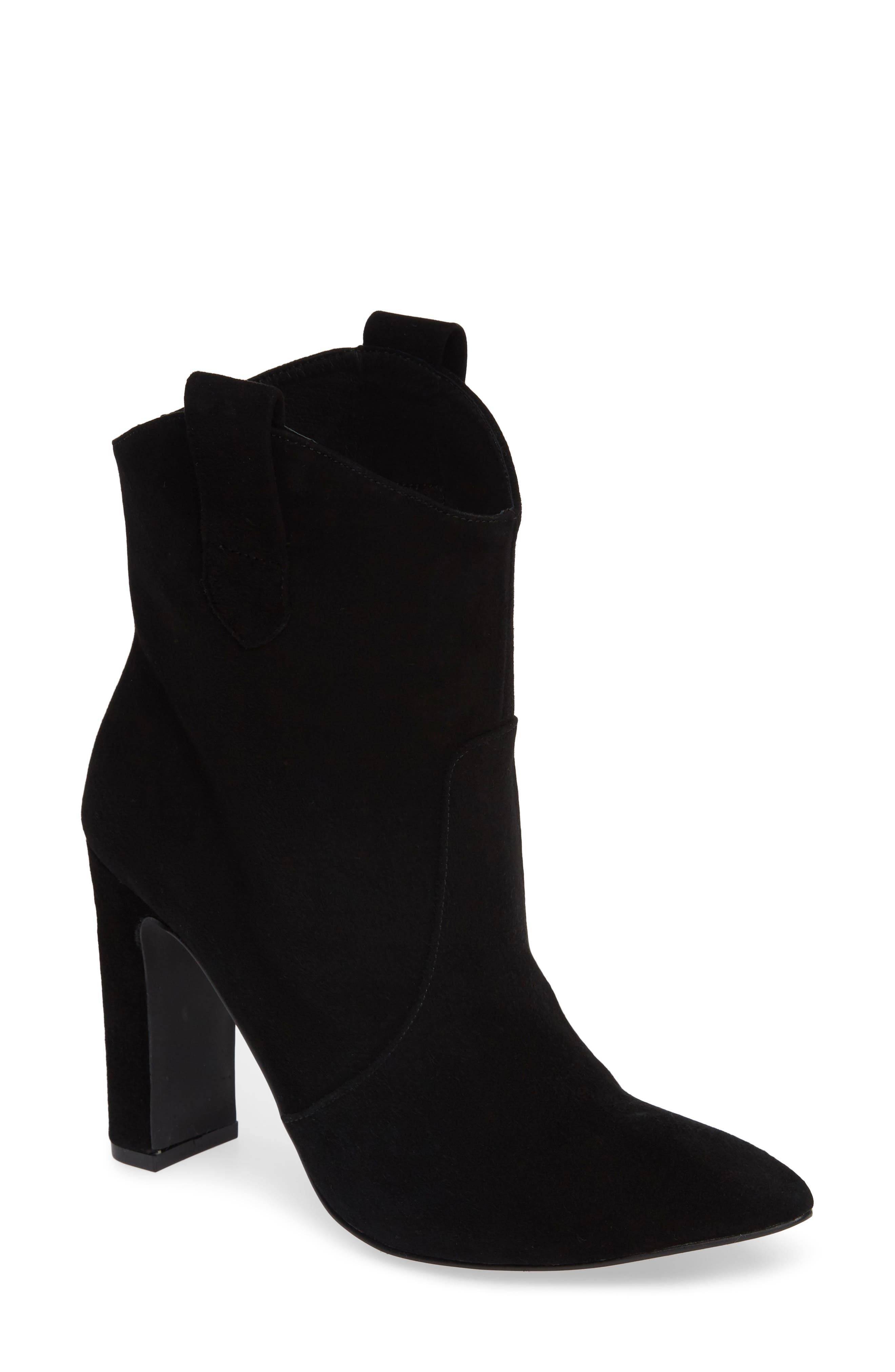 Karly Suede Bootie,                             Main thumbnail 1, color,                             BLACK SUEDE