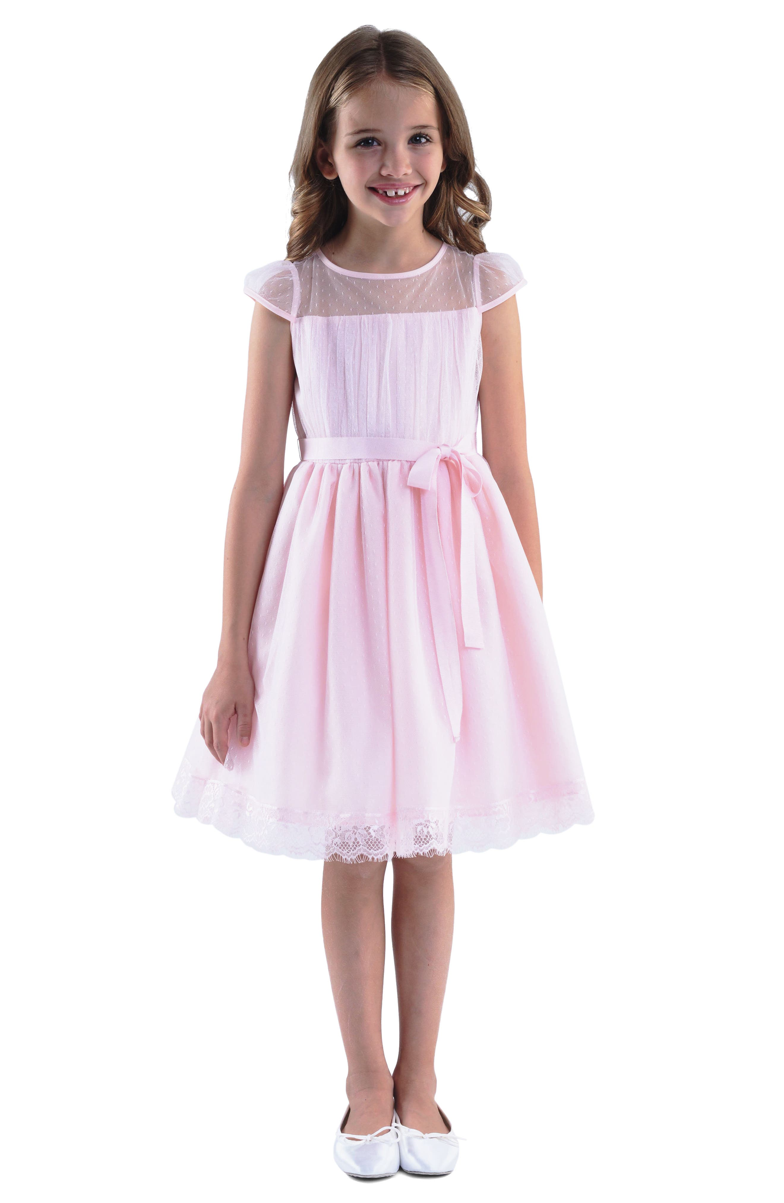 Point d'Esprit Dress,                             Main thumbnail 1, color,                             BLUSH PINK