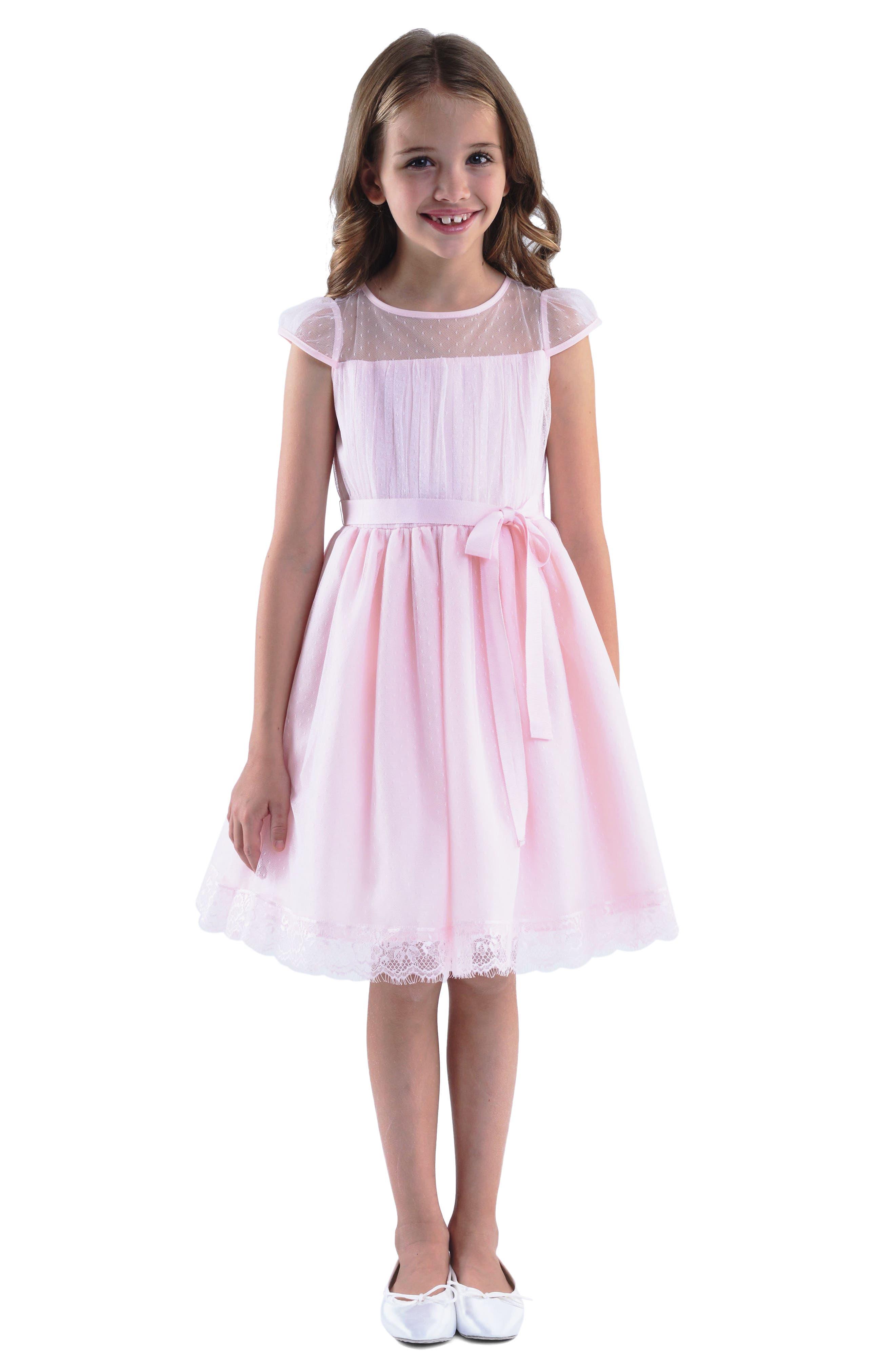Point d'Esprit Dress,                         Main,                         color, BLUSH PINK