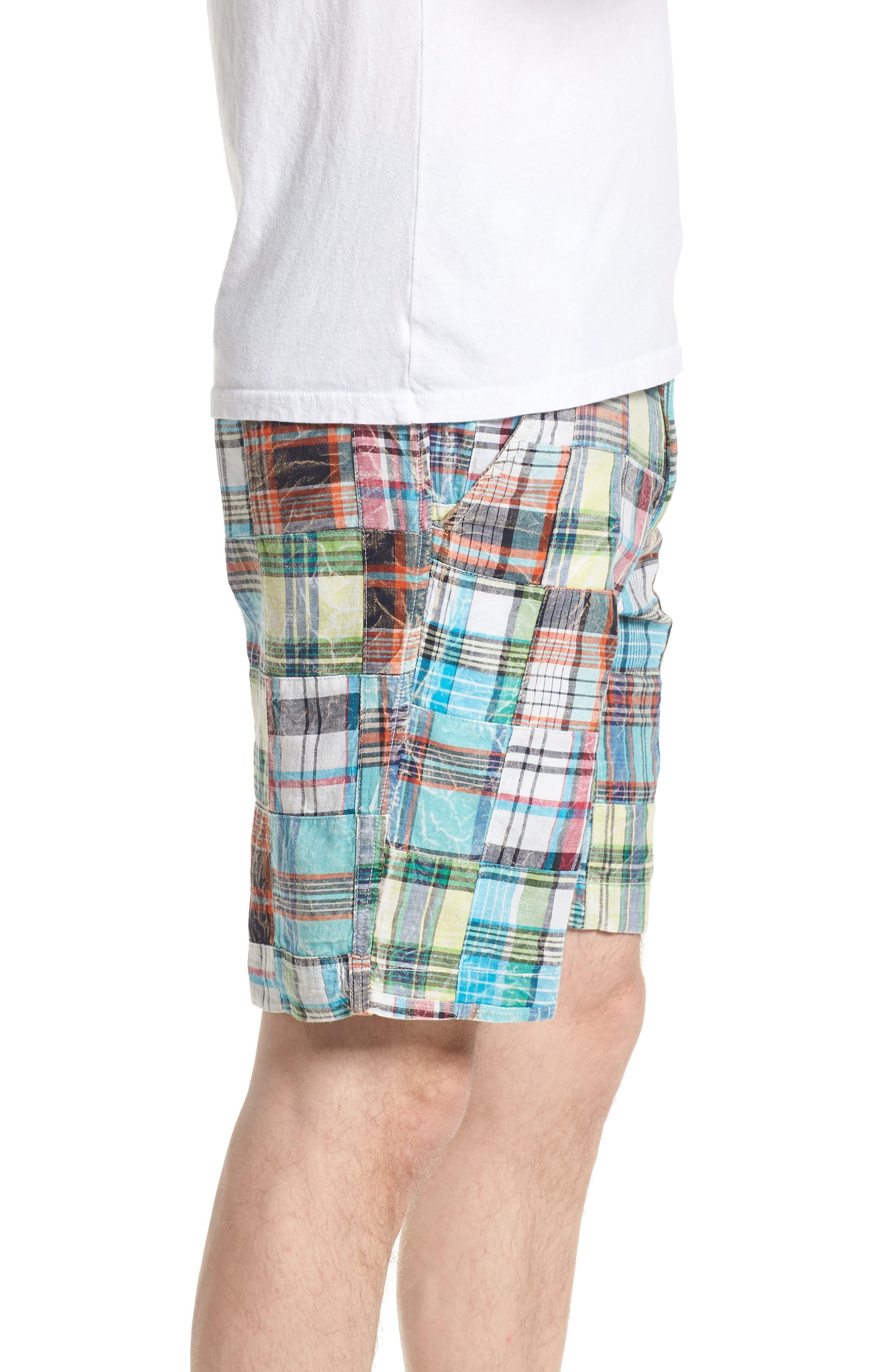 Acid Wash Plaid Patchwork Shorts,                             Alternate thumbnail 3, color,                             300