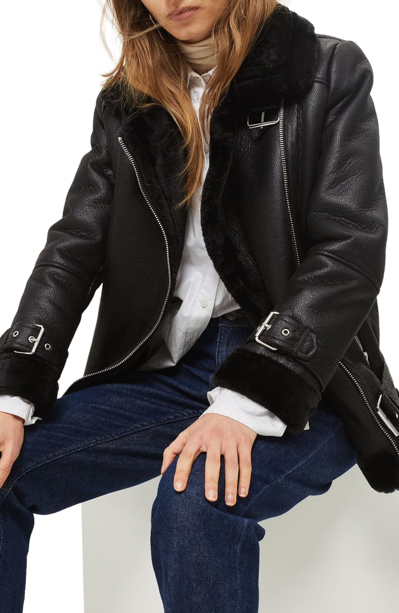 TOPSHOP,                             Faux Shearling Biker Jacket,                             Alternate thumbnail 3, color,                             001