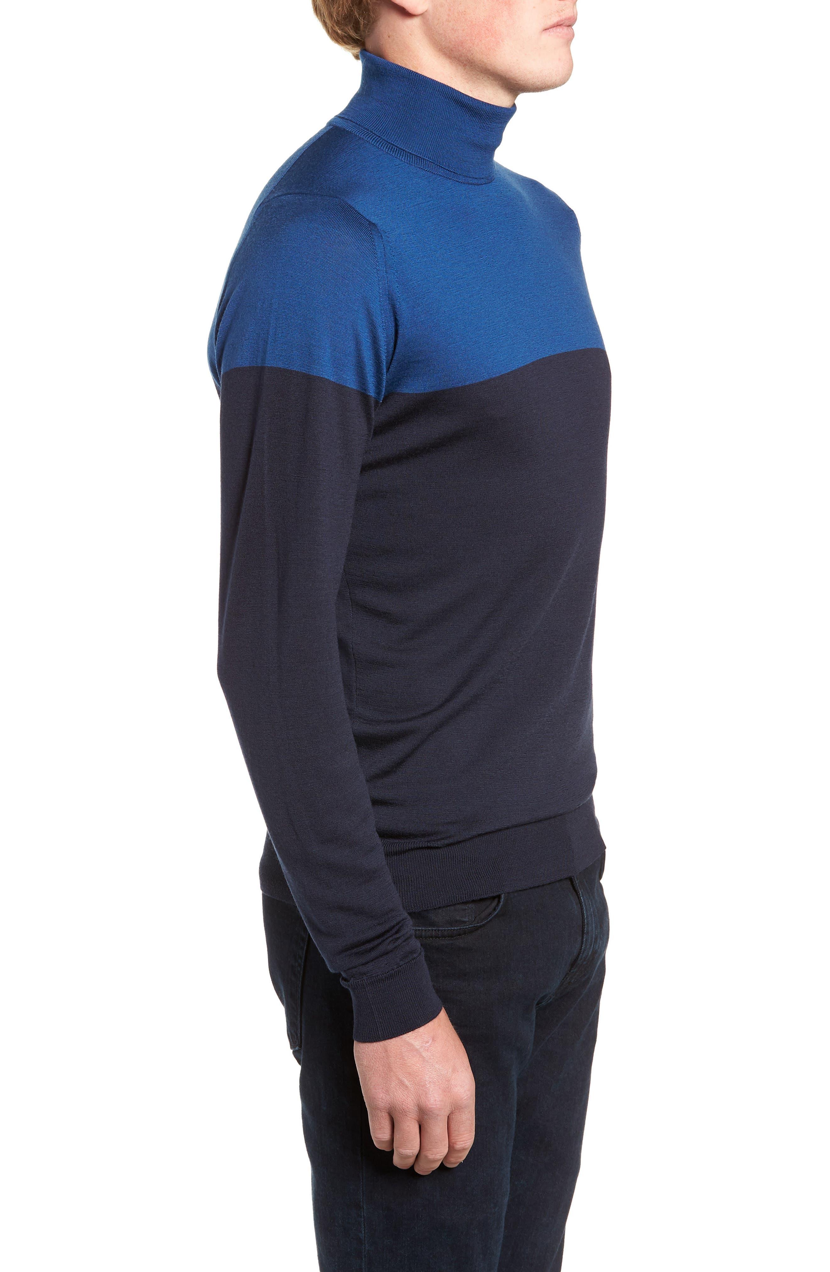 Slim Fit Colorblock Merino Wool Turtleneck Sweater,                             Alternate thumbnail 3, color,                             MIDNIGHT