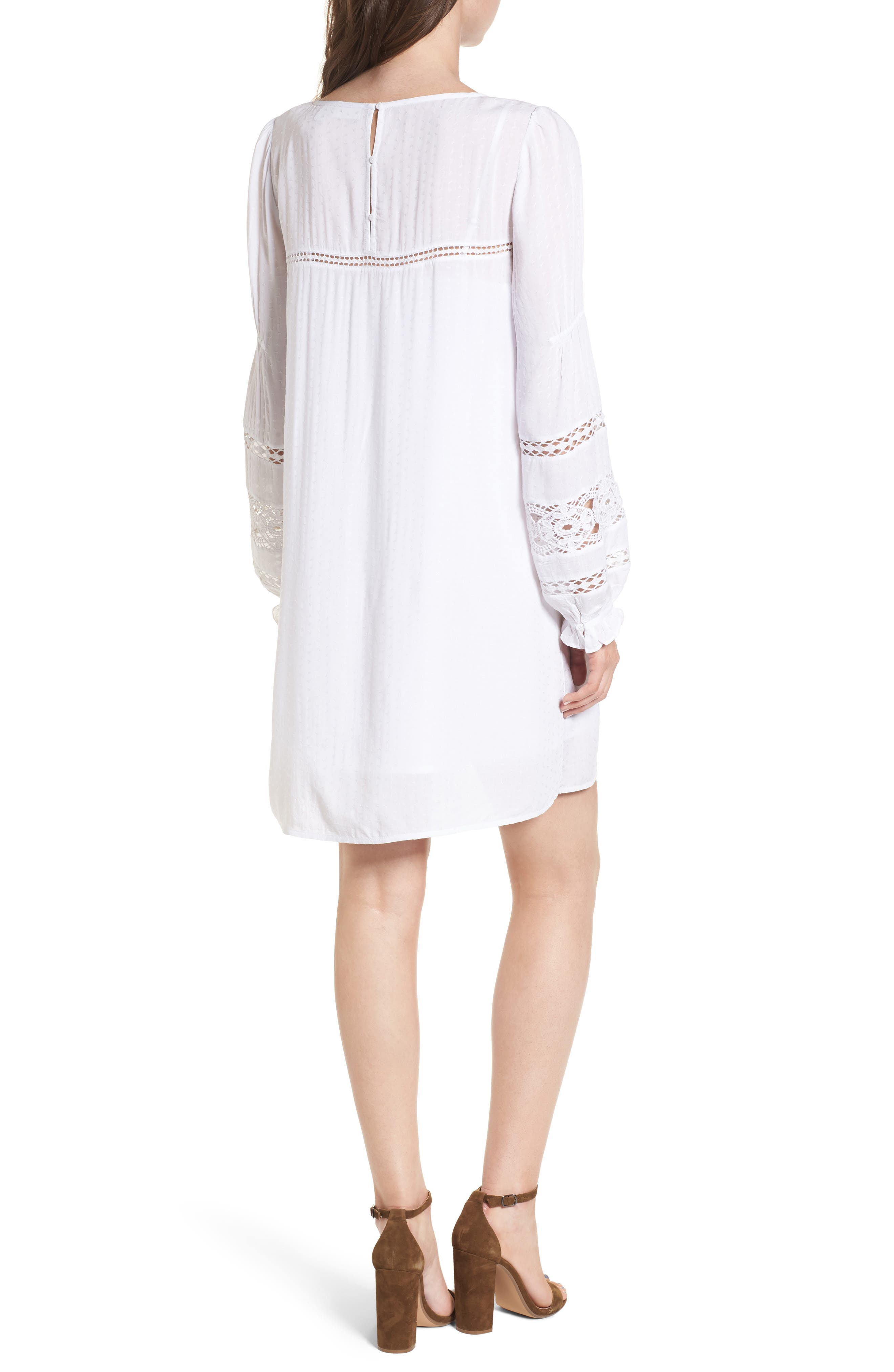 Lace Trim Puff Sleeve Shift Dress,                             Alternate thumbnail 2, color,                             100
