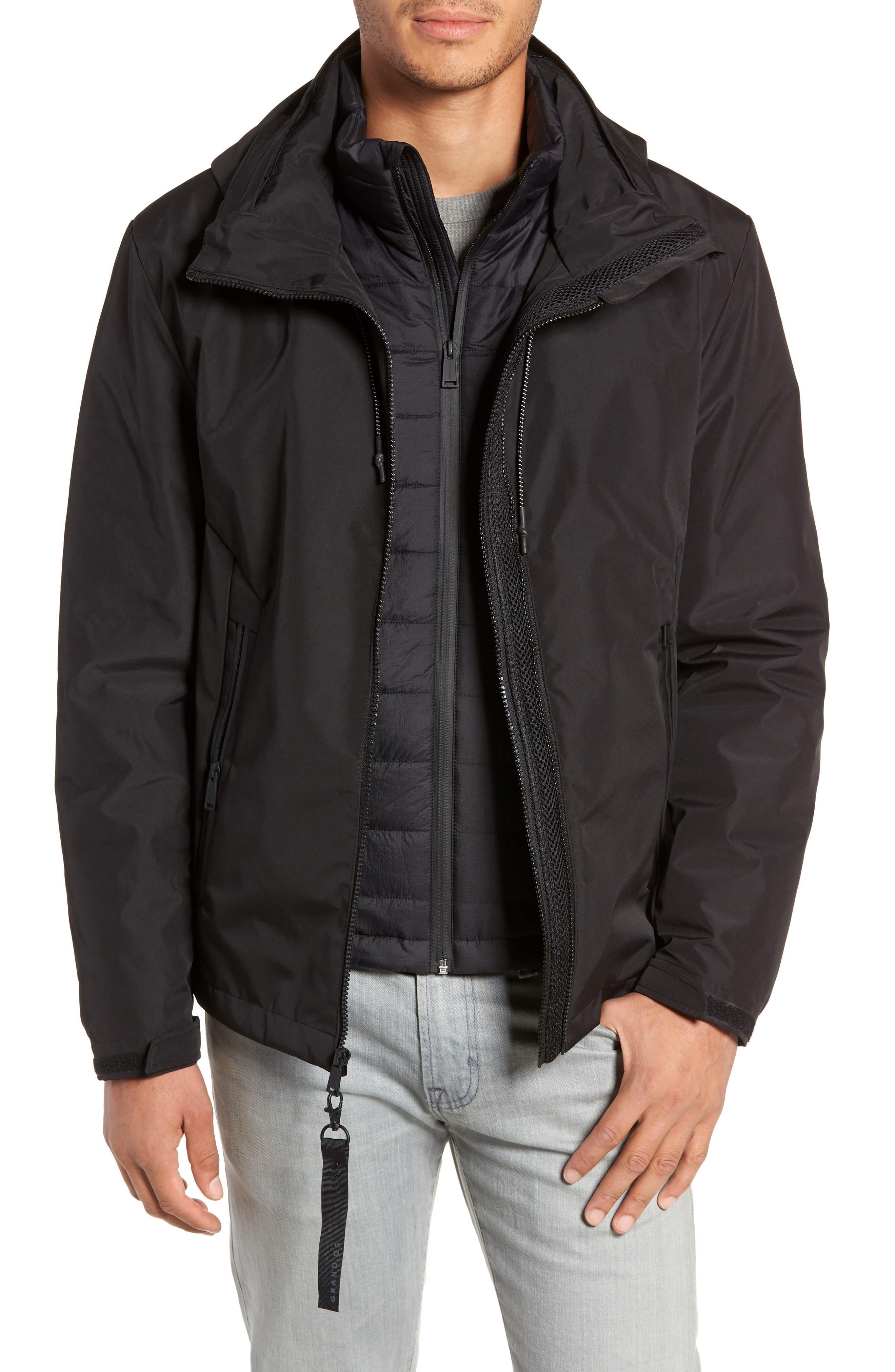 3-in-1 Rain Jacket,                         Main,                         color, BLACK