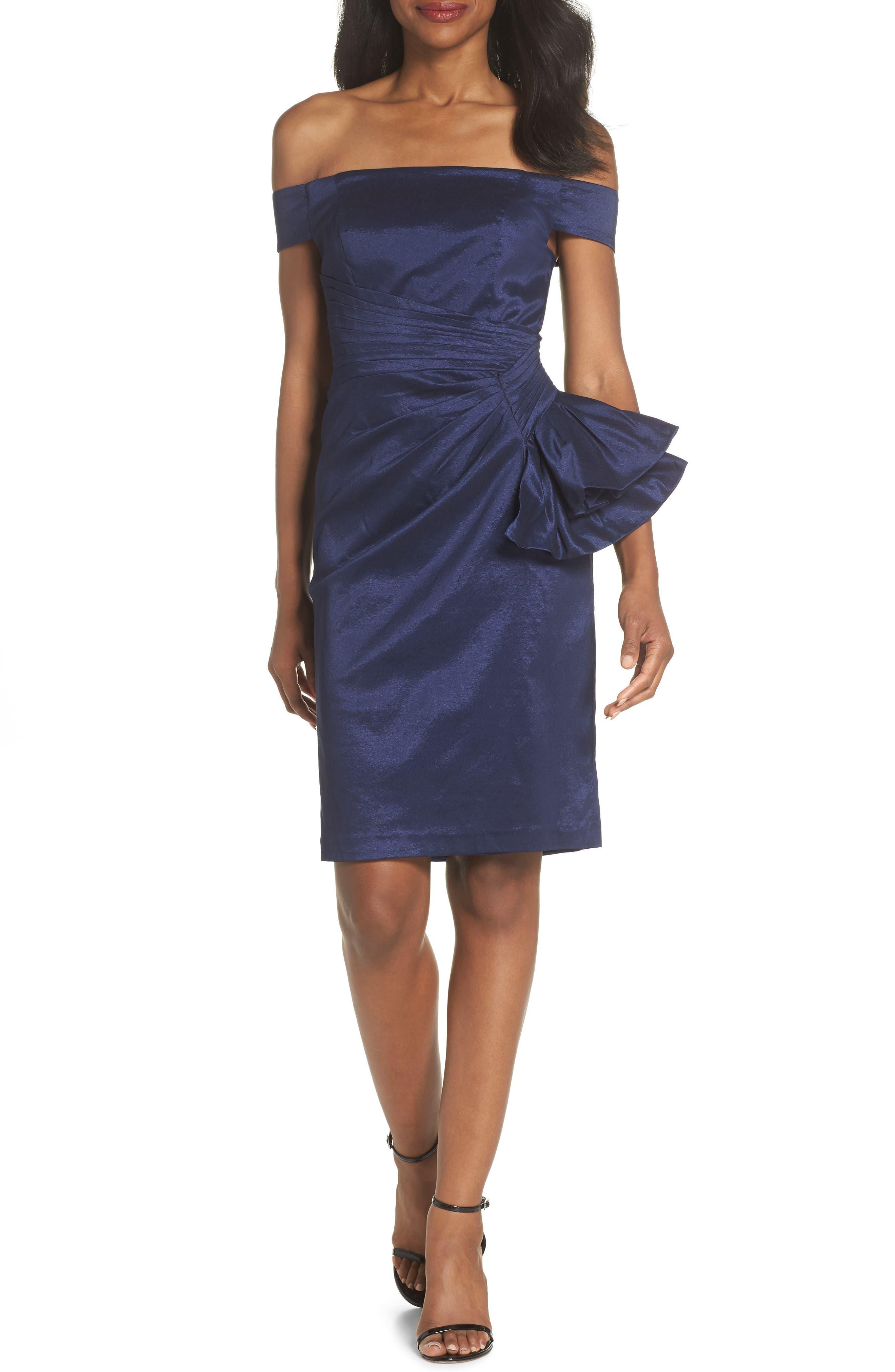 Off the Shoulder Bow Dress,                         Main,                         color, NAVY