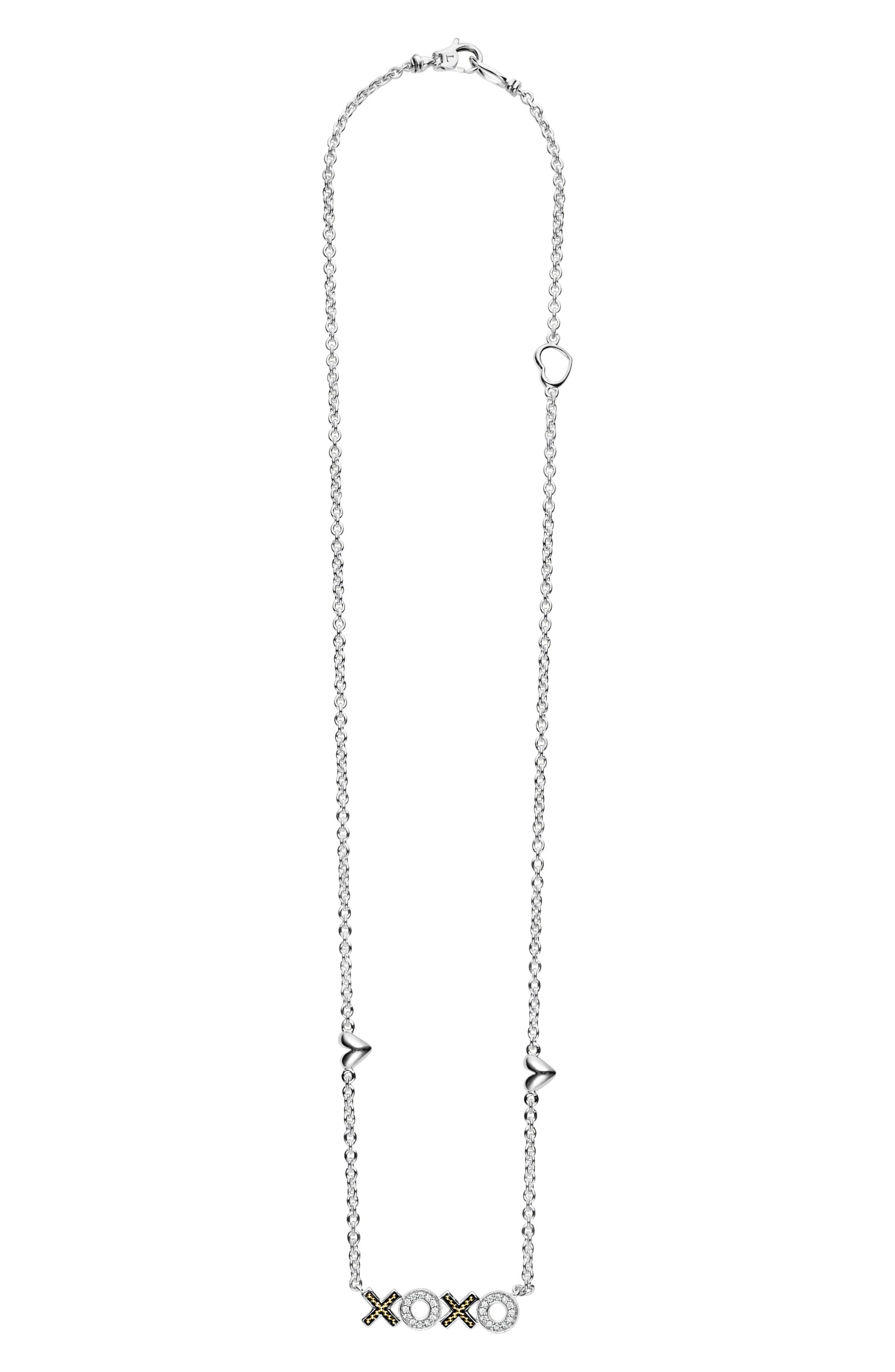 Beloved Diamond XOXO Chain Necklace,                             Alternate thumbnail 3, color,                             SILVER/ DIAMOND