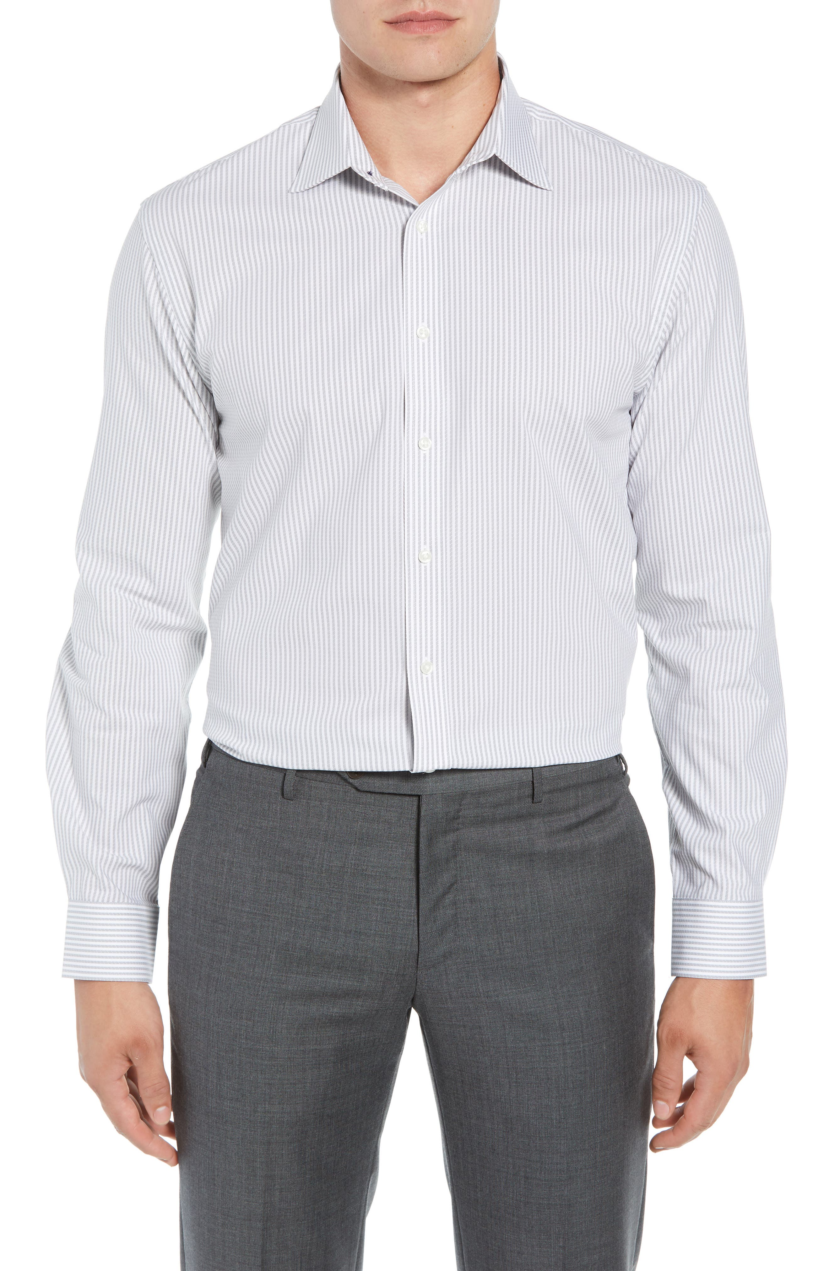 Tech-Smart Traditional Fit Stripe Stretch Dress Shirt,                         Main,                         color,