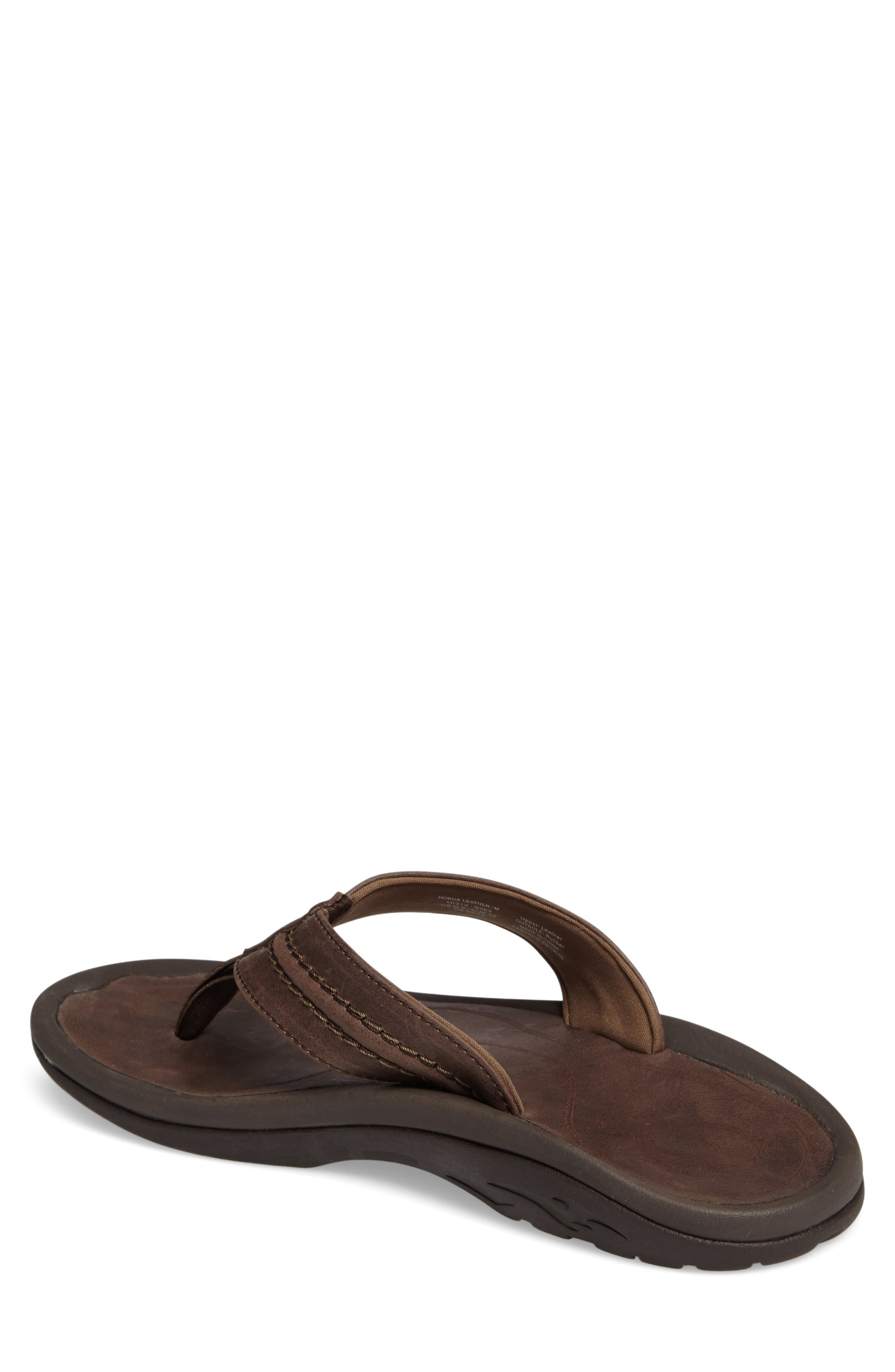 Hokua Flip Flop,                             Alternate thumbnail 2, color,                             DARK WOOD LEATHER