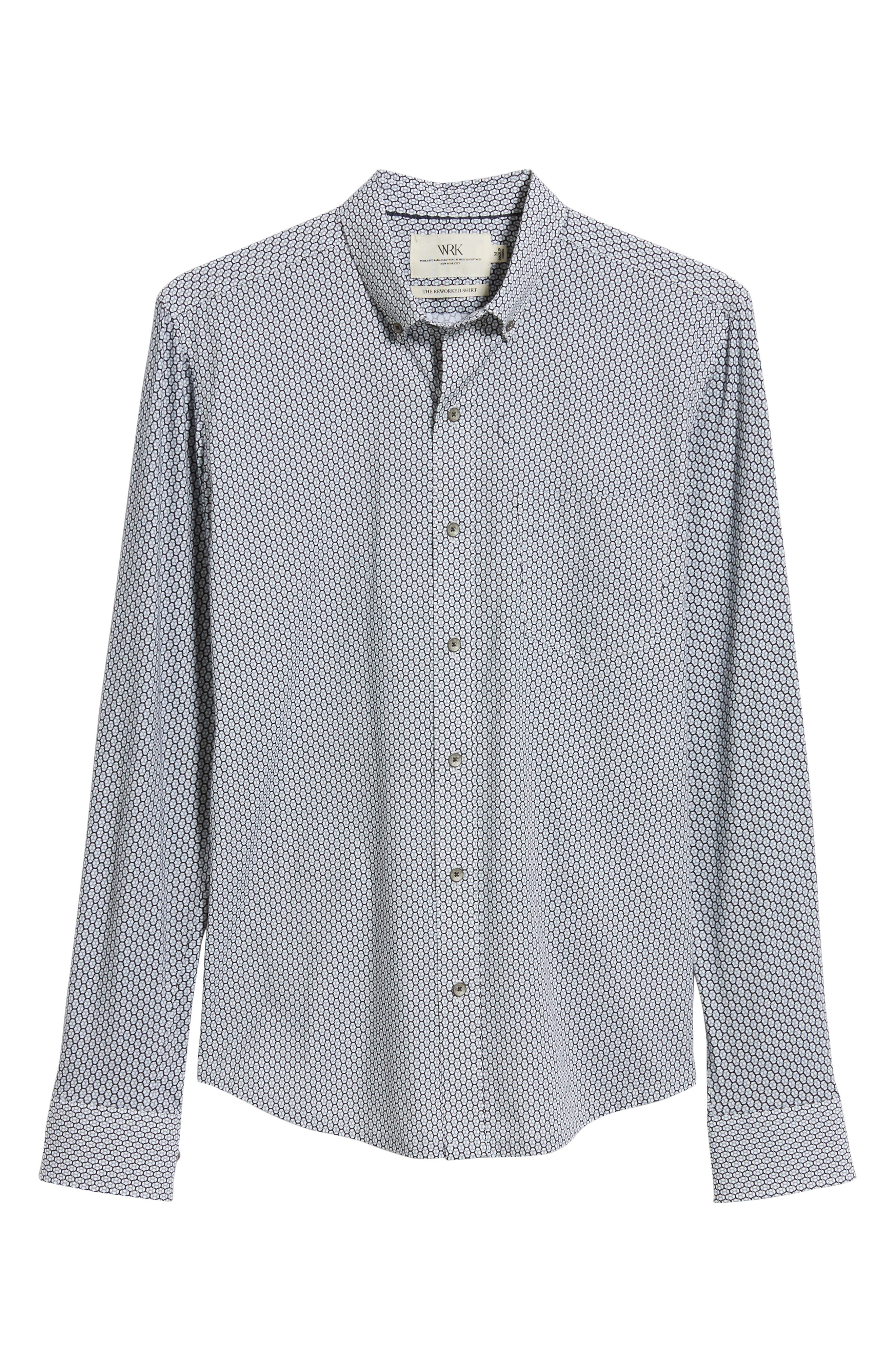Reworked Slim Fit Print Sport Shirt,                             Alternate thumbnail 5, color,                             WHITE/ GREY