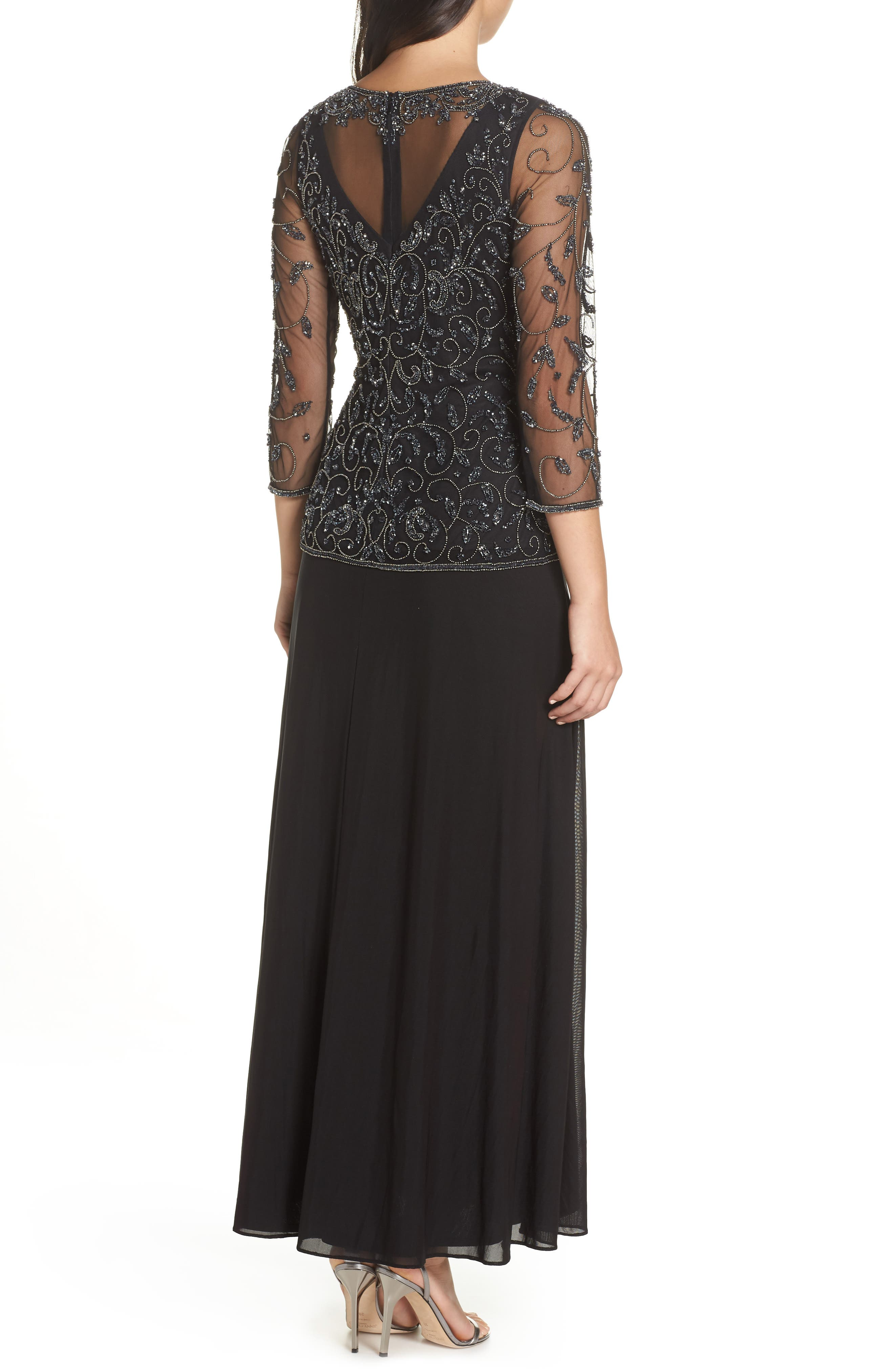 Beaded Mesh Mock Two-Piece Gown,                             Alternate thumbnail 2, color,                             BLACK