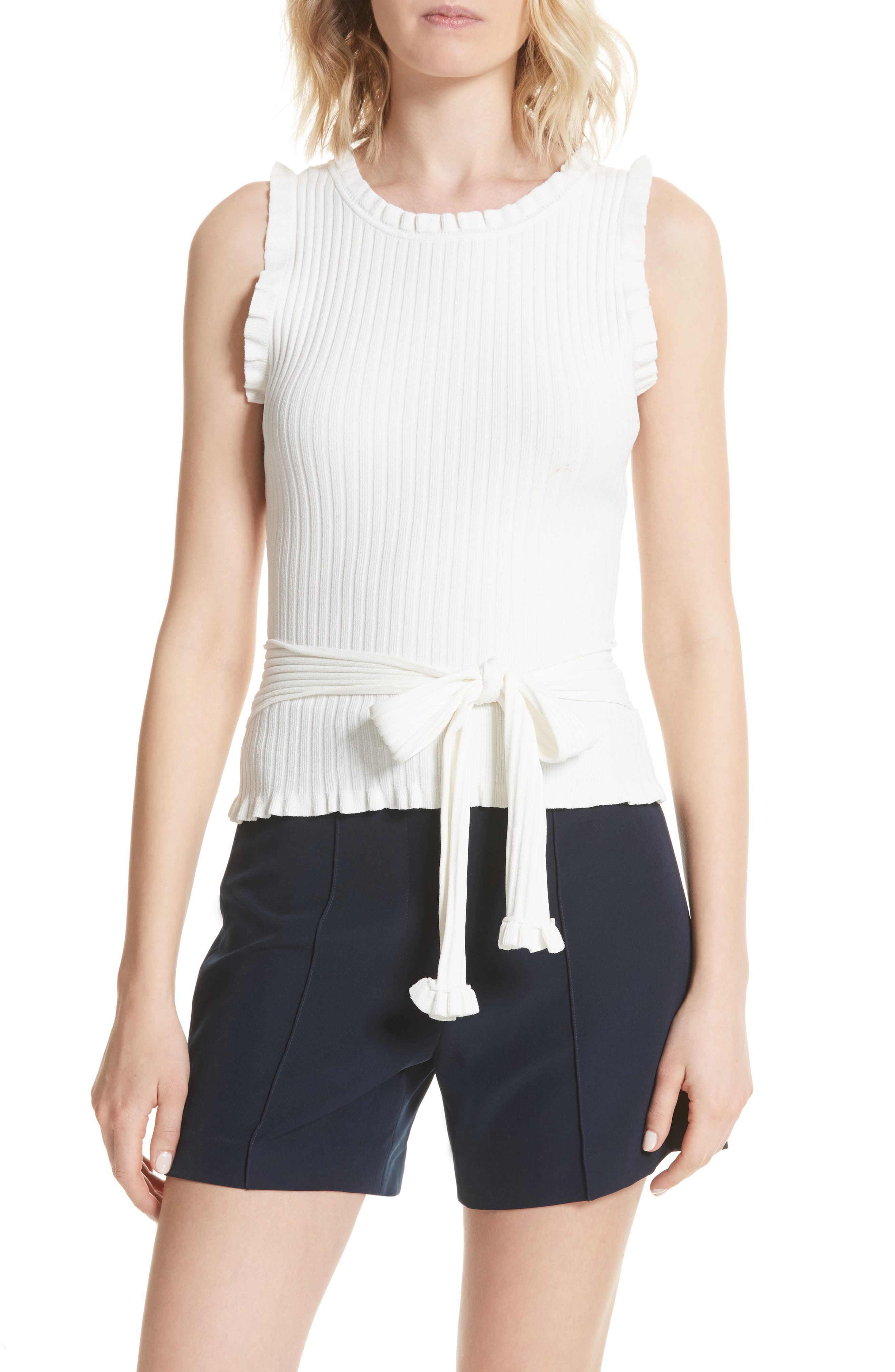 Ruffle Tie Front Shell,                             Main thumbnail 1, color,                             WHITE