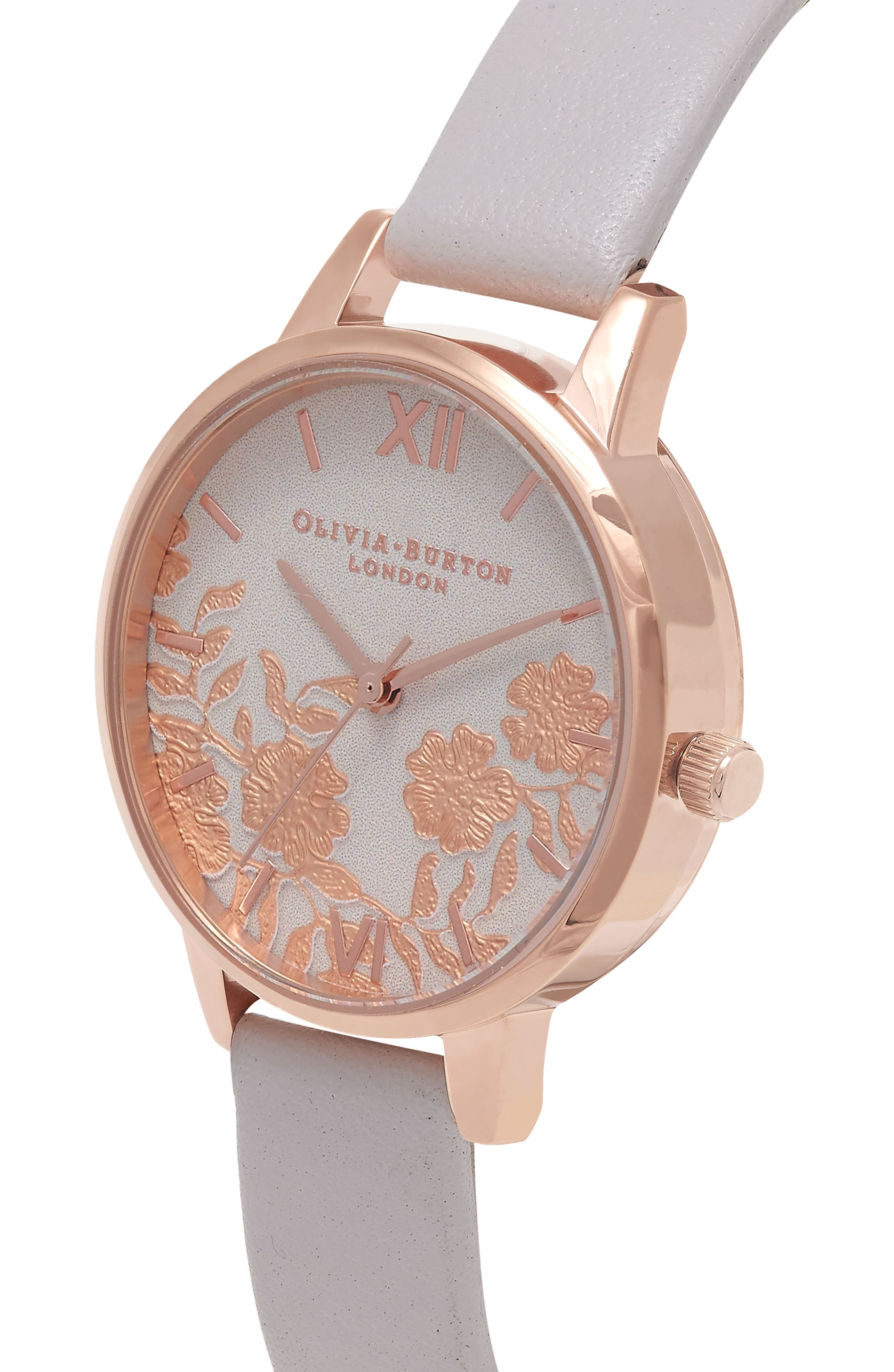 Lace Detail Leather Strap Watch, 30mm,                             Alternate thumbnail 6, color,