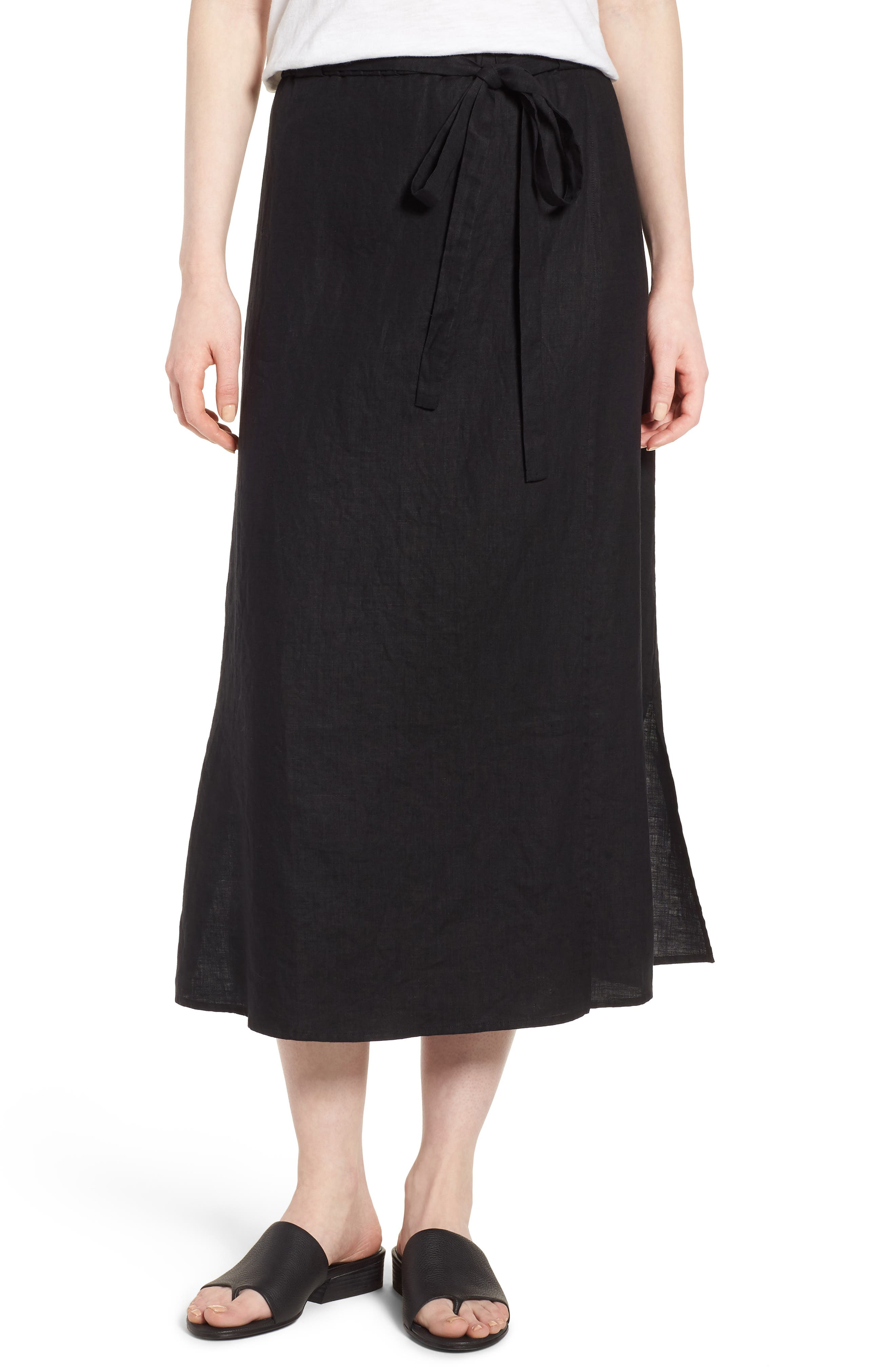 Faux Wrap Organic Linen Skirt,                         Main,                         color, 001