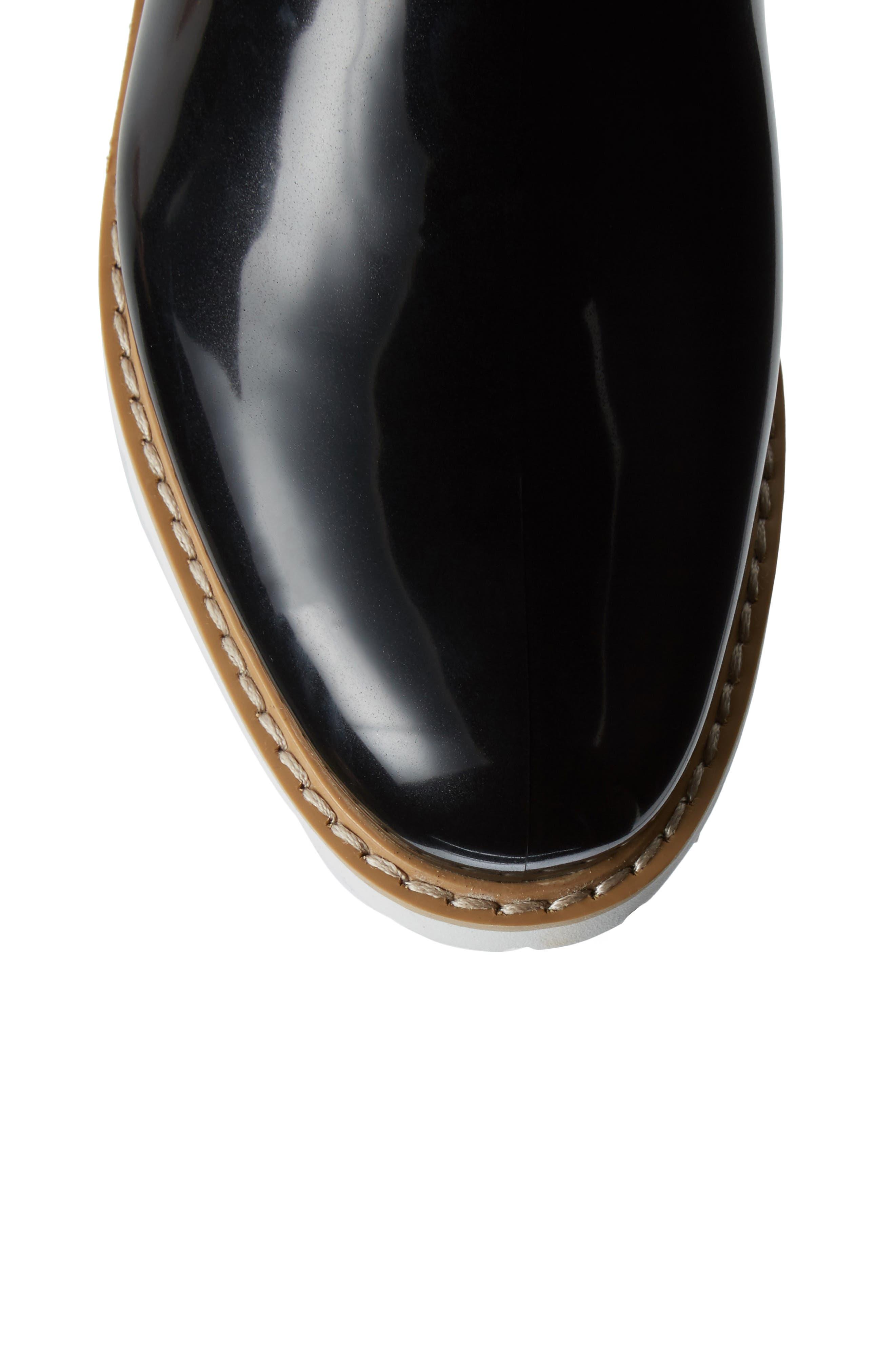 Kensington Chelsea Rain Boot,                             Alternate thumbnail 5, color,                             BLACK/ WHITE
