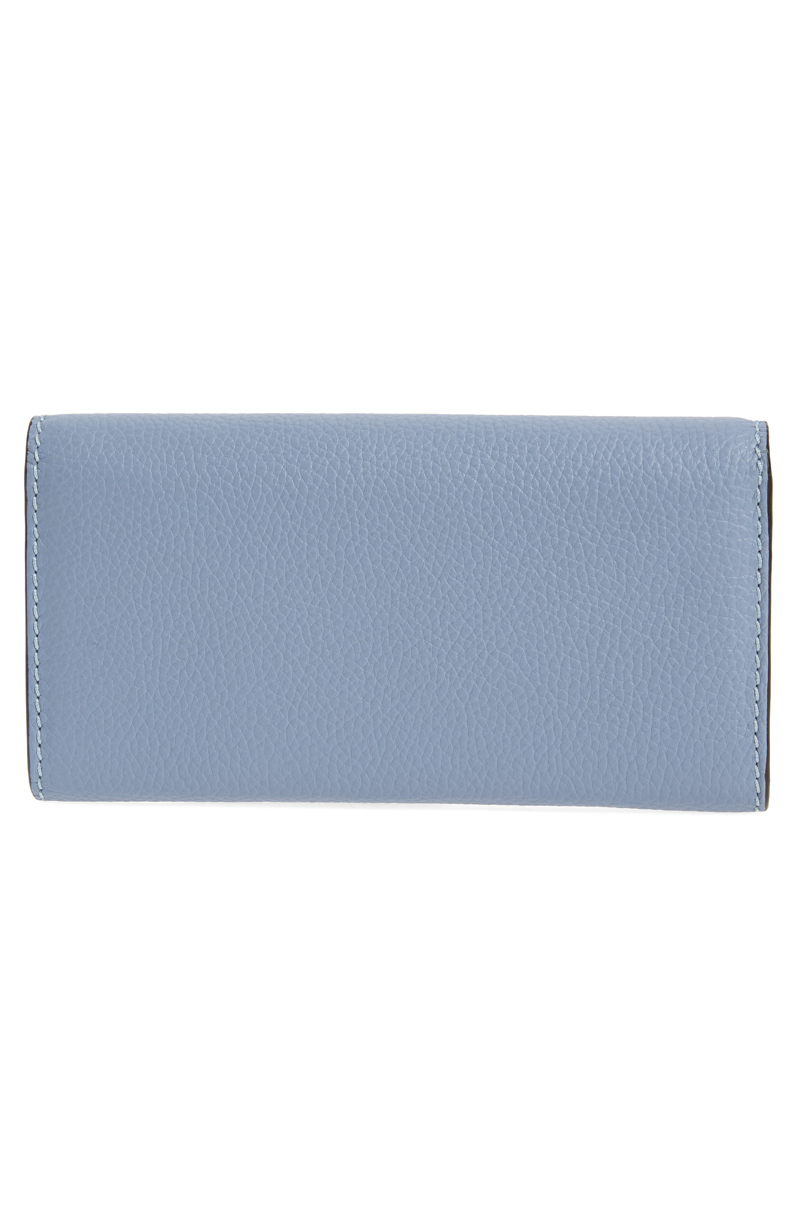 Marcie - Long Leather Flap Wallet,                             Alternate thumbnail 3, color,                             WASHED BLUE