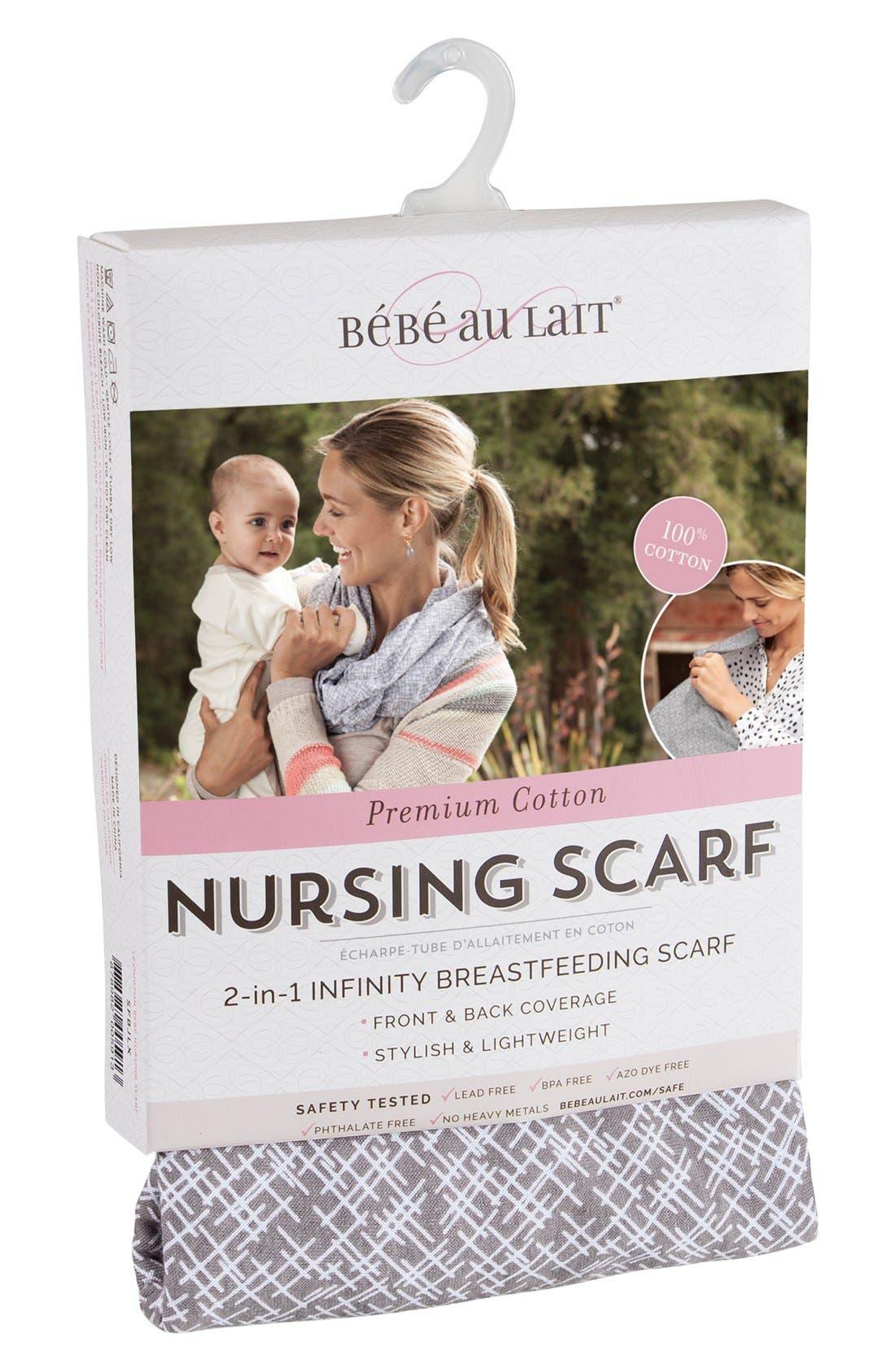 Infinity Nursing Scarf,                             Alternate thumbnail 4, color,                             BEIGE/ WHITE