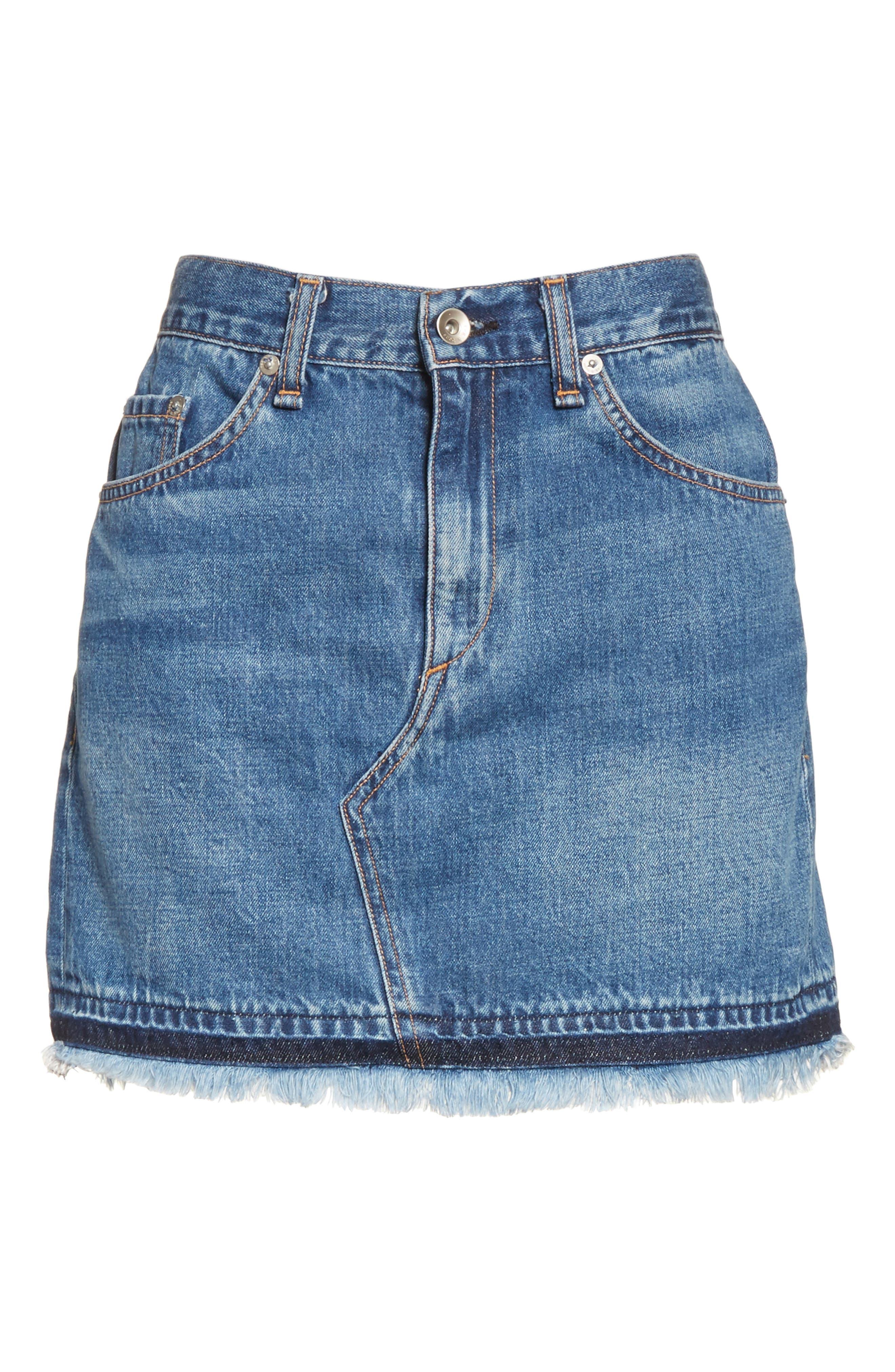 Dive Denim Skirt,                             Alternate thumbnail 6, color,                             472