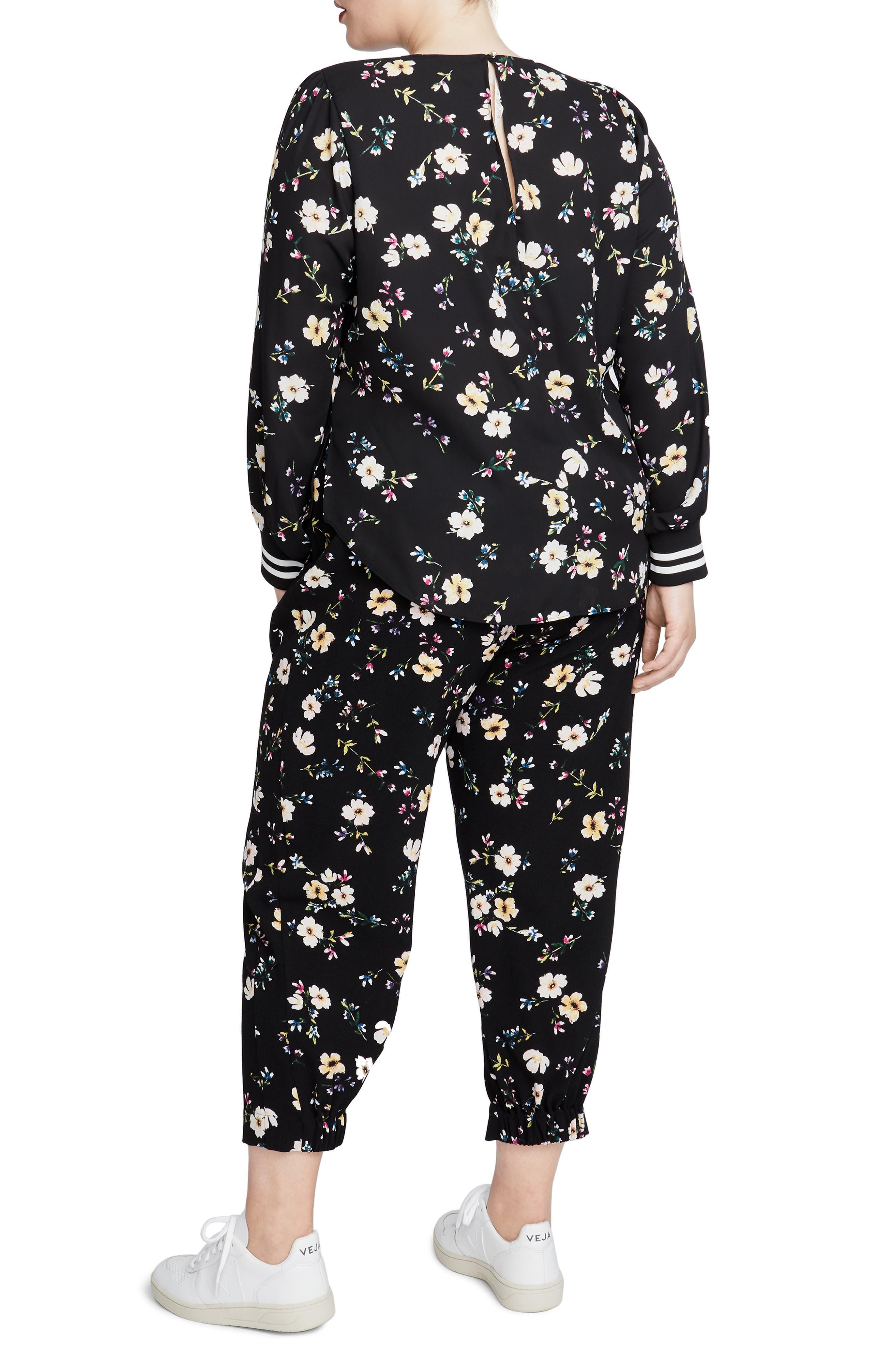 Floral Jogger Pants,                             Alternate thumbnail 2, color,                             BLACK COMBO