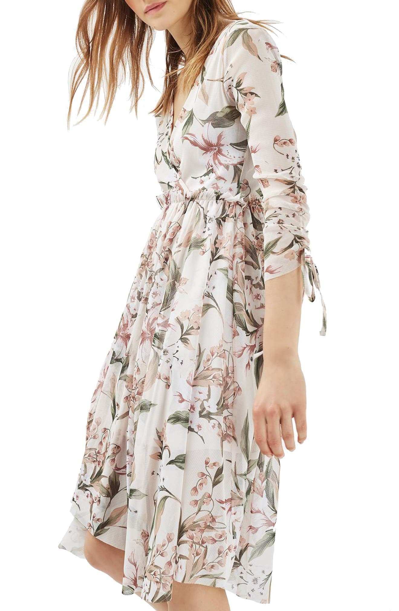 Lily Floral Mesh Dress,                             Alternate thumbnail 3, color,                             900