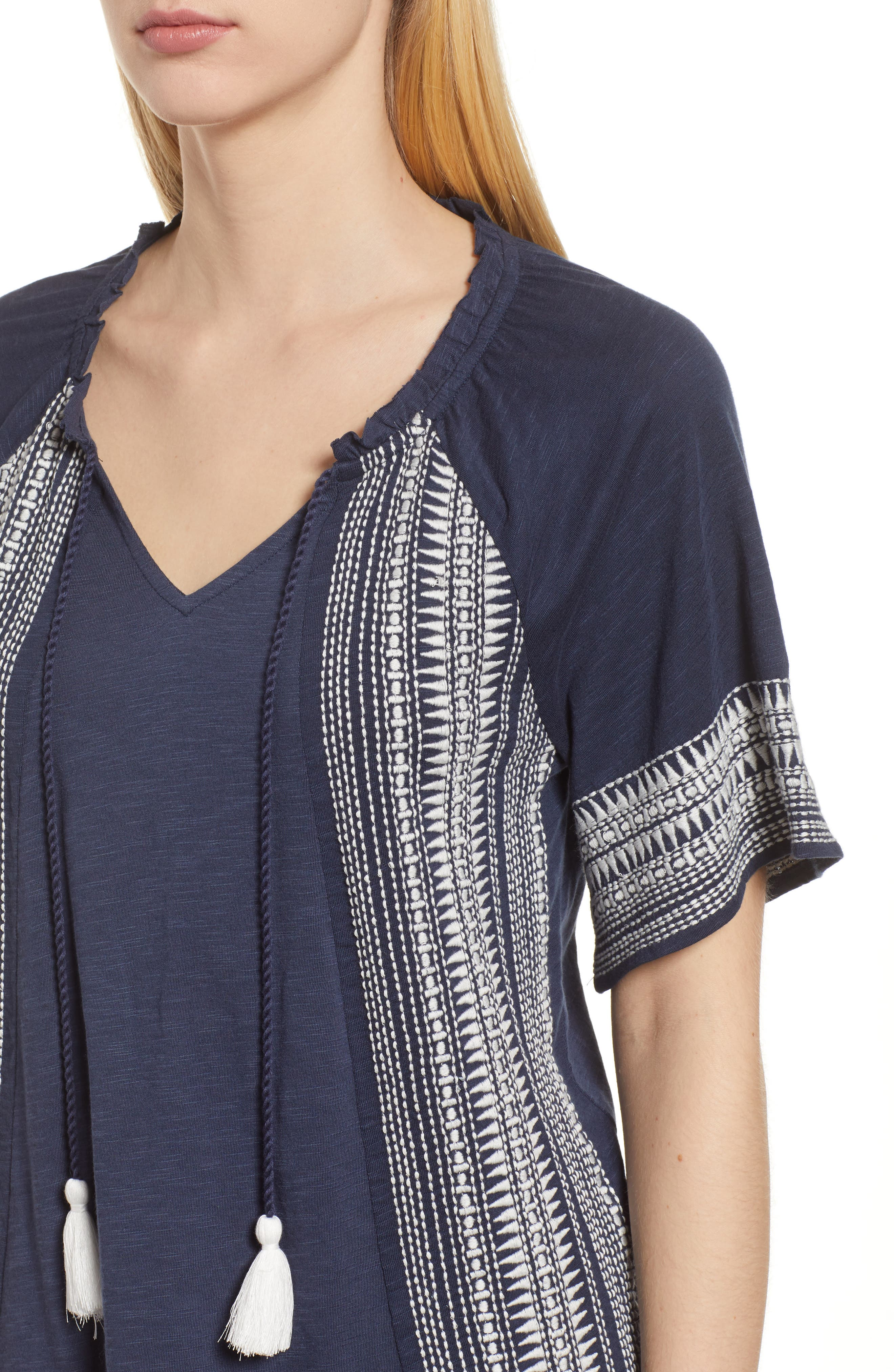 Embroidered Border Peasant Top,                             Alternate thumbnail 11, color,