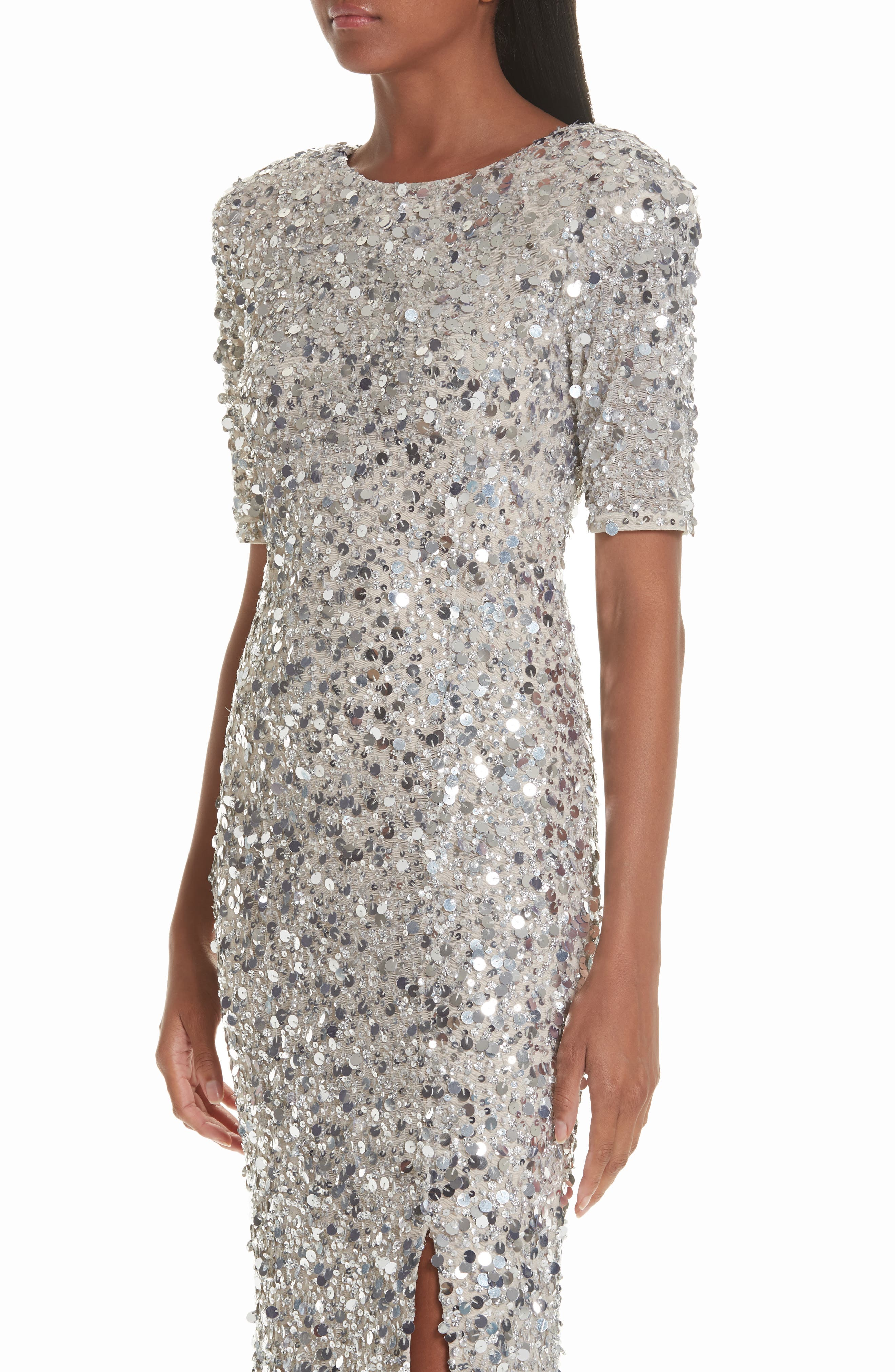 Zowie Sequin Gown,                             Alternate thumbnail 4, color,                             SILVER